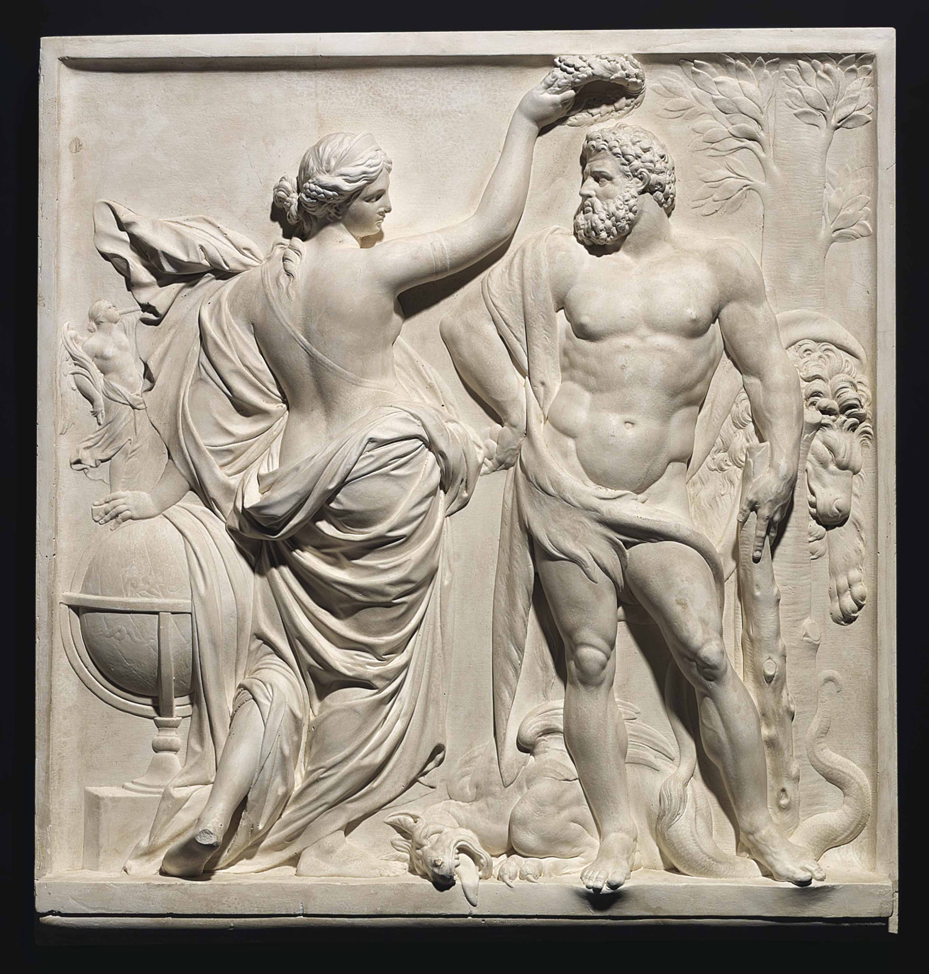 A PLASTER RELIEF OF HERCULES CROWNED BY GLORY