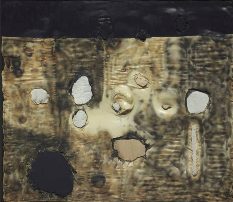 Alberto Burri (1915-1995), Combustione plastica, 1960-61. 51¼ x 59⅛ in (130 x 150 cm). Sold for £4,674,500 on 11 February 2014  at Christie's in London © Fondazione Palazzo Albizzini Collezione Burri, Città di Castello – DACS 2018