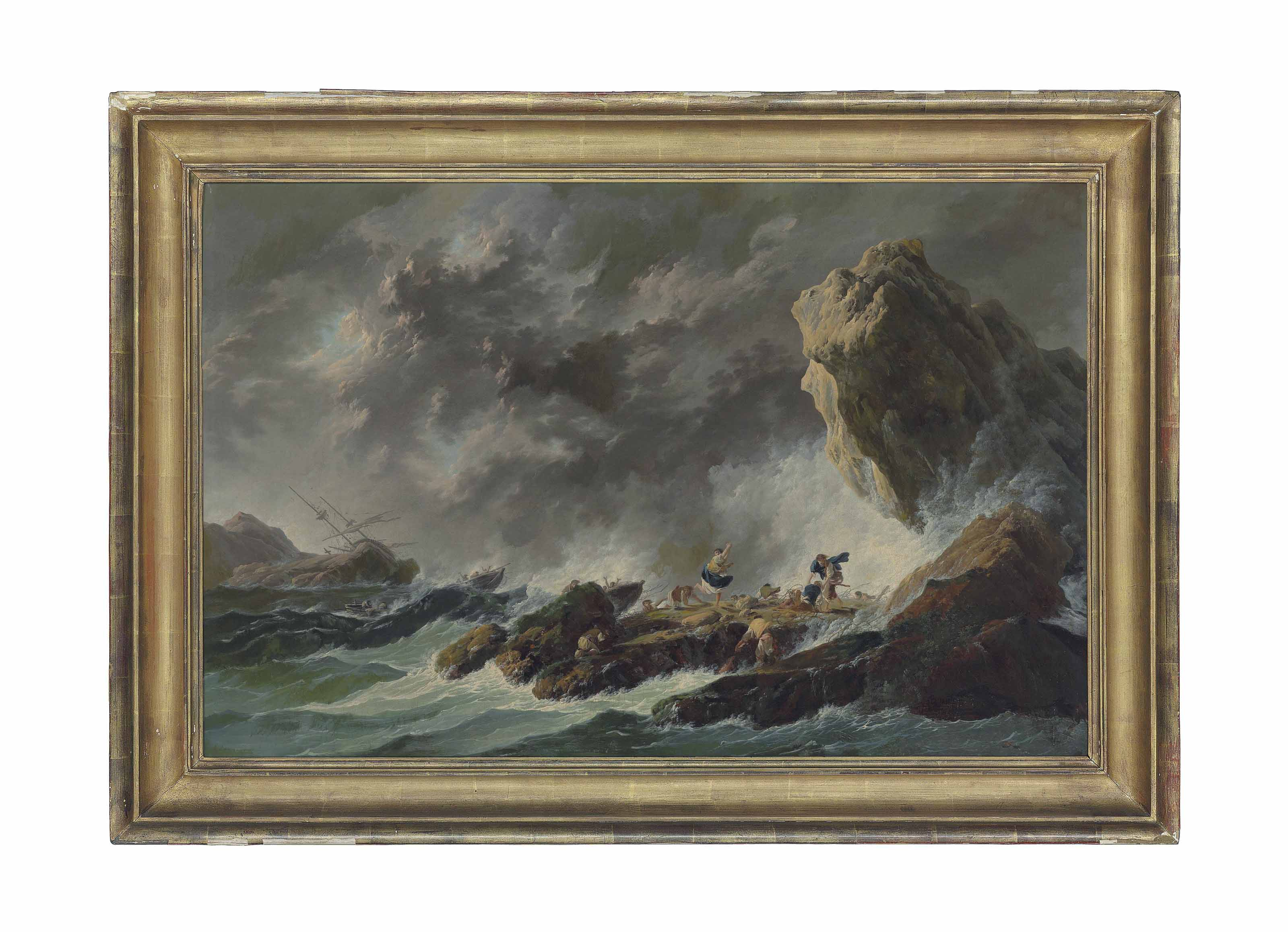 A rocky coastal landscape with a shipwreck in a storm and figures on the shore