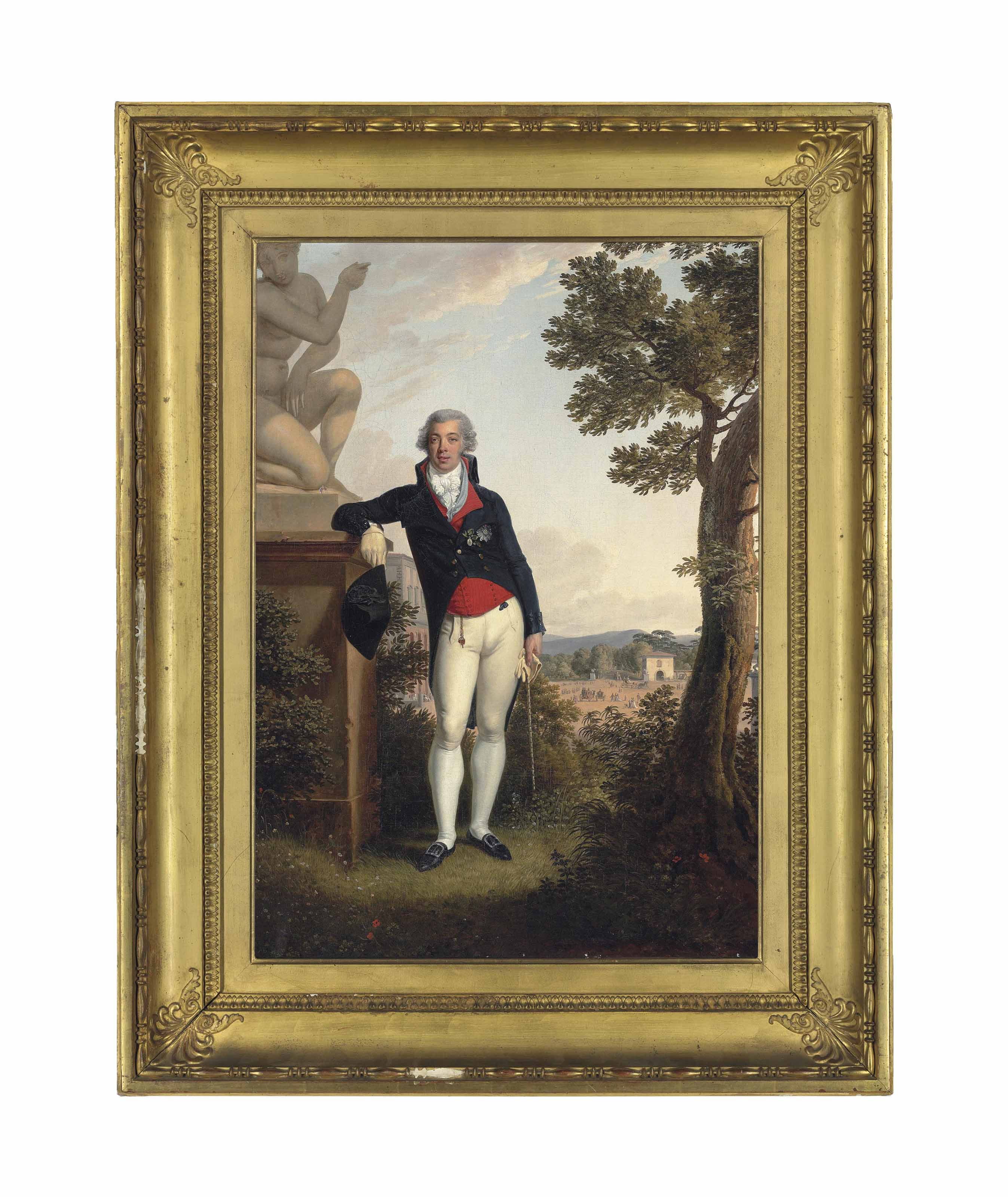 Portrait of Lourenço José Xavier de Lima, 1st Count of Mafra (1767?-1839), small full-length, in a red waistcoat and navy coat, wearing the decorations of the Order of Aviz, leaning against a pedestal with a sculpture of the Crouching Venus, in the campagna outside Florence