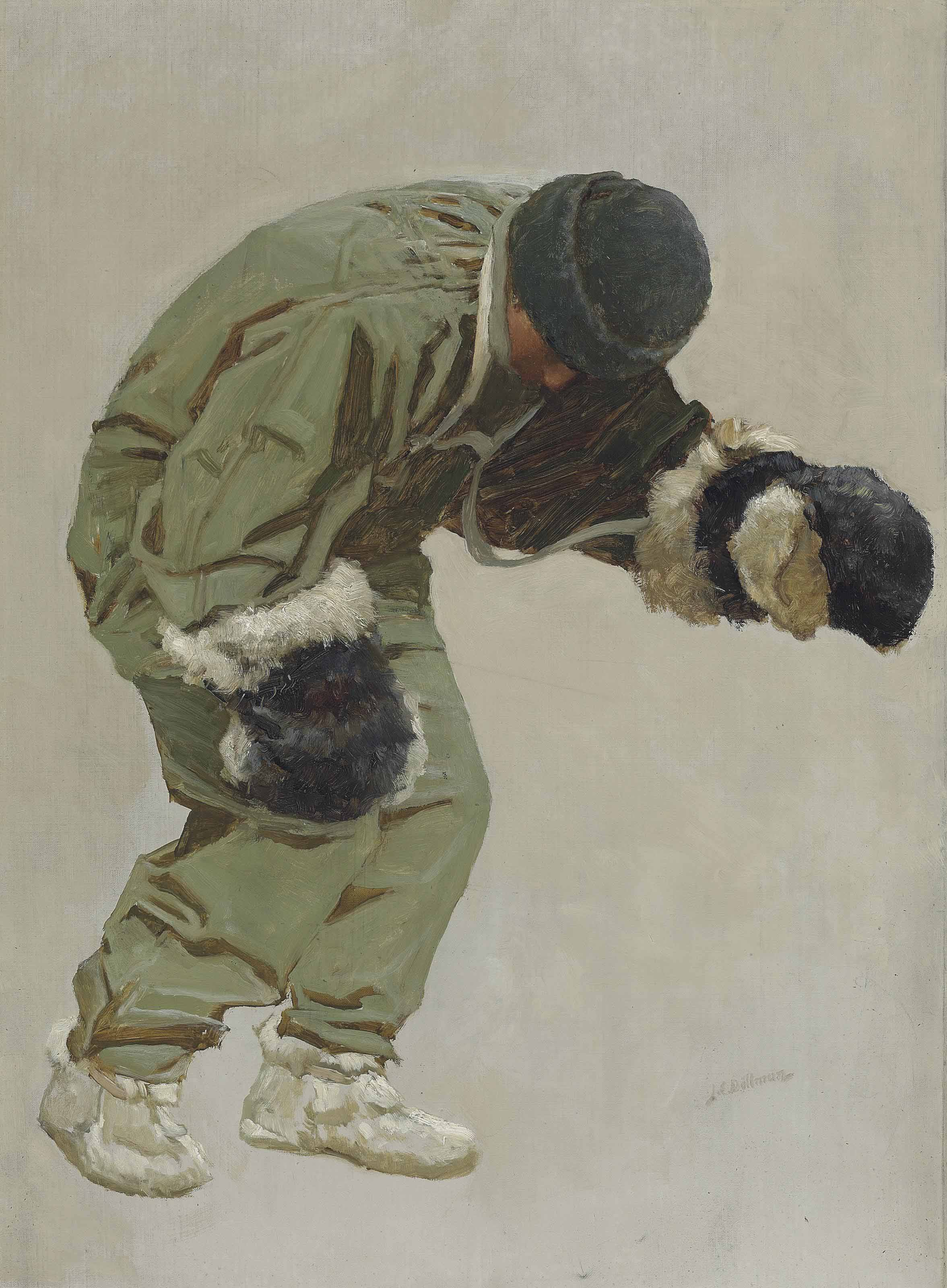 'A Very Gallant Gentleman' (Captain L.E.G. Oates walking out to his death in the blizzard, on Captain Scott's return journey from the South Pole, March 1912)