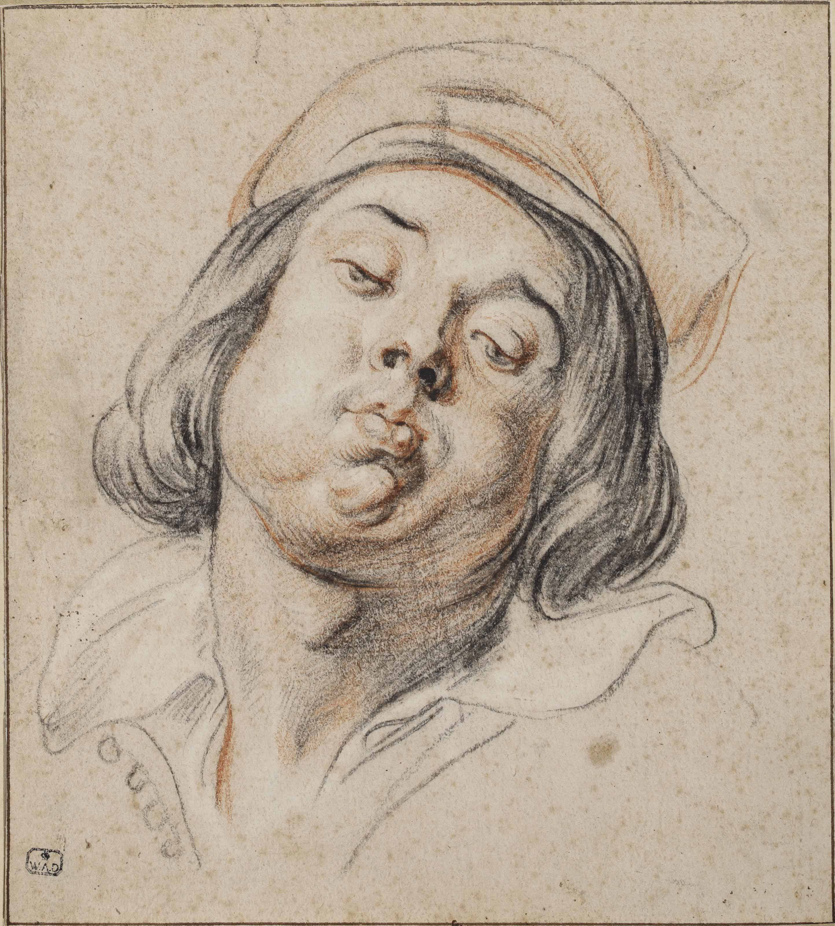The head of a piper: Study for As the old sang, so the young pipe