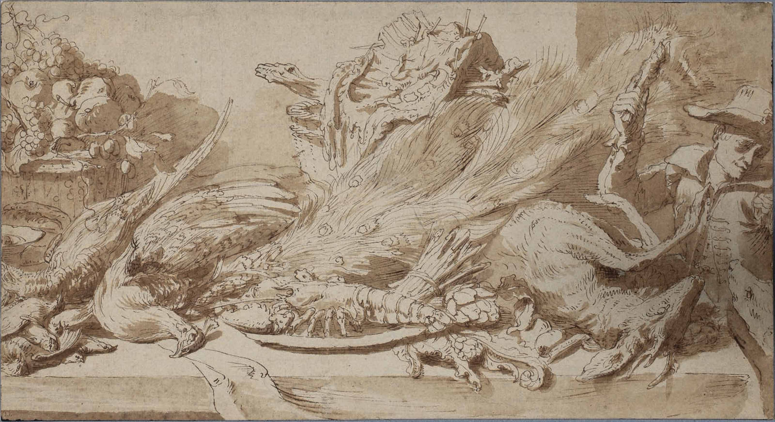 Still life of game, fish and fruit on a table, with a boy teasing a dog on the right