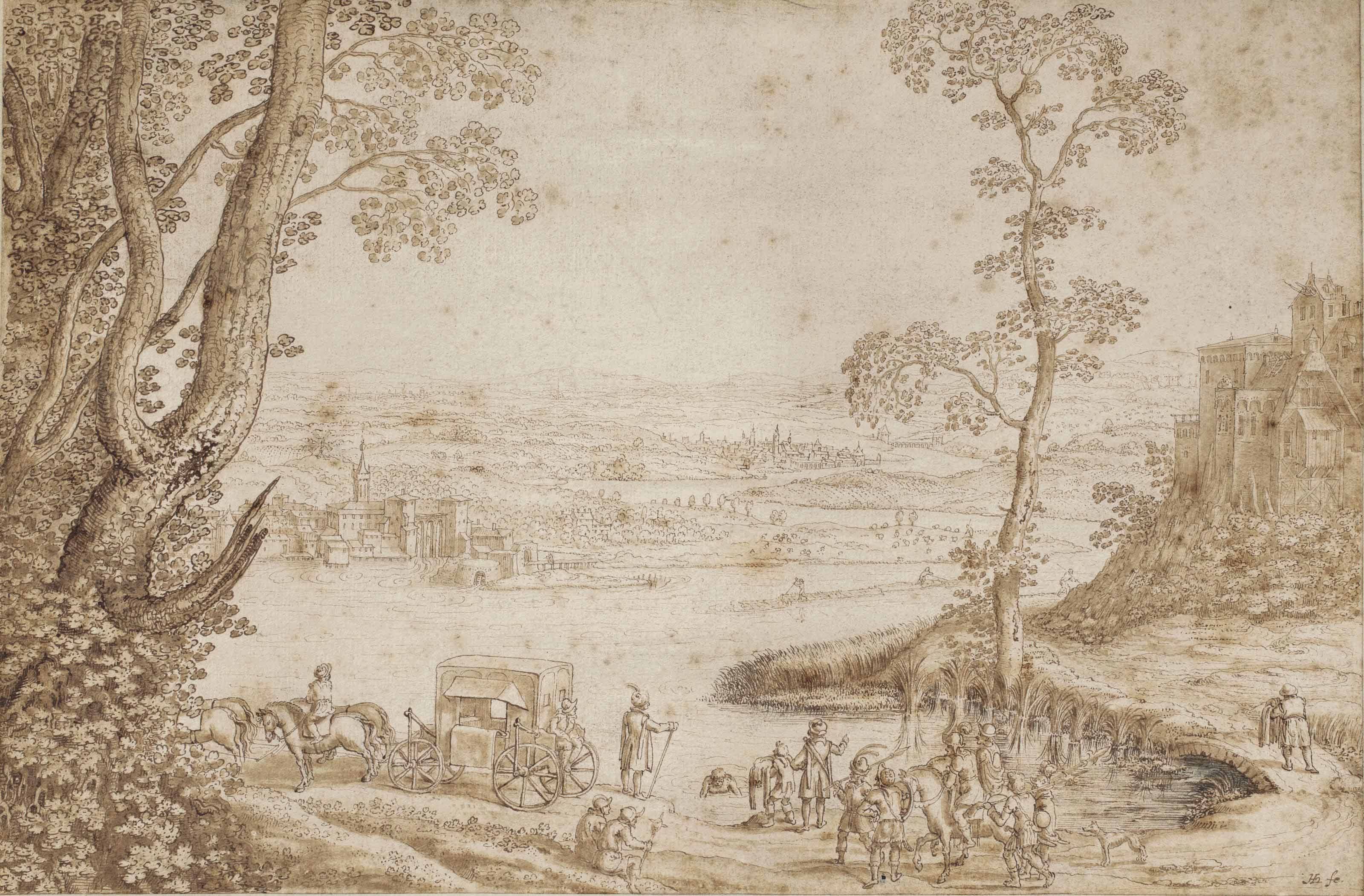 An extensive river landscape with the Baptism of the Eunuch