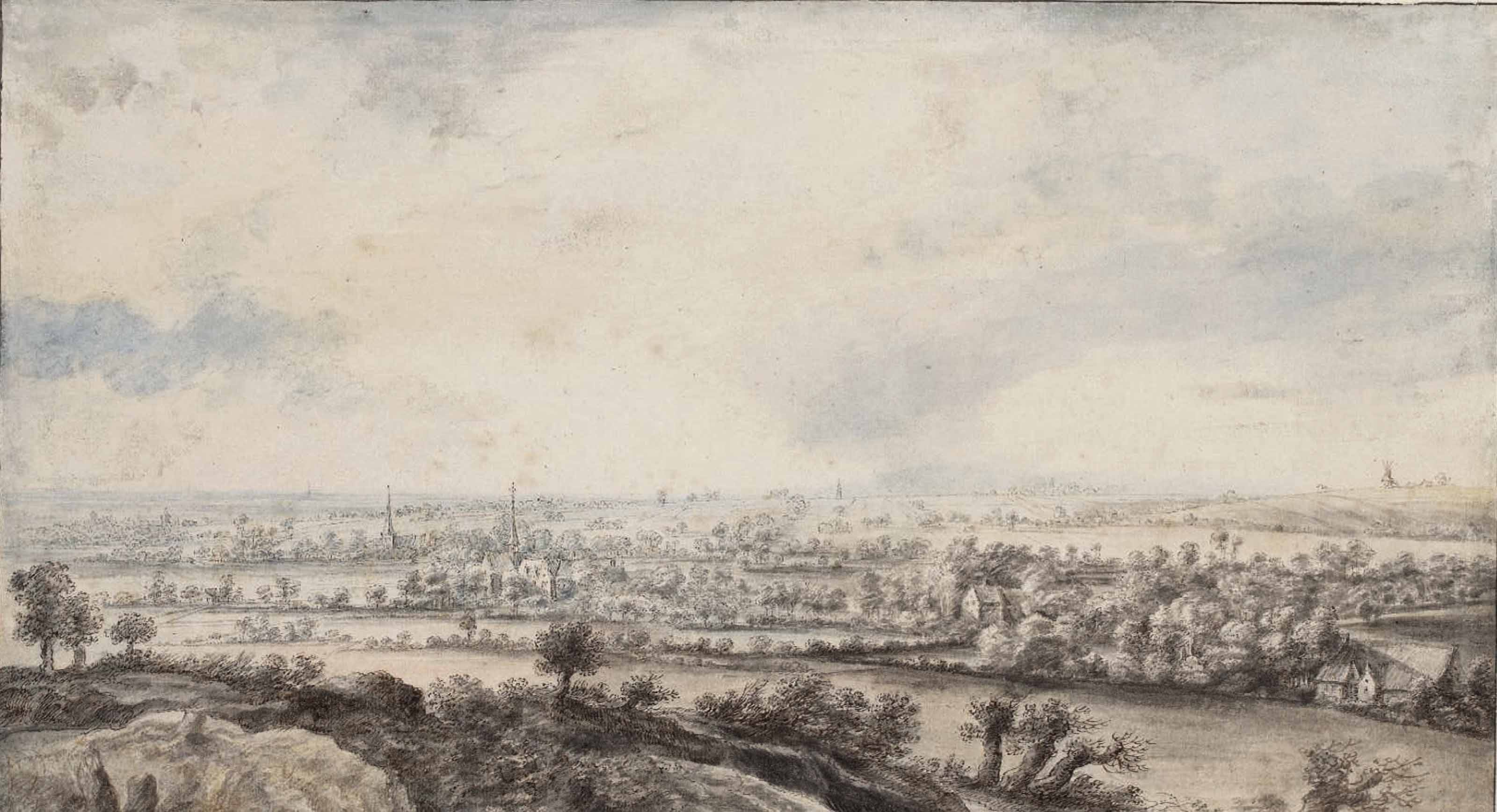 A panoramic river landscape with pollard willows