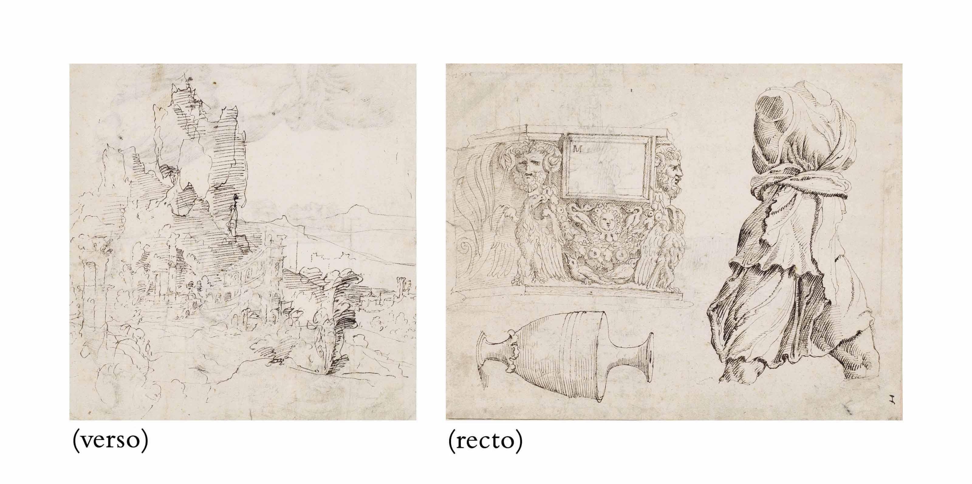 Studies of Roman sculpture: A fragment of a sarcophagus, an antique vase and a torso of Artemis (recto); A fantastical mountainous landscape with ruins (verso)