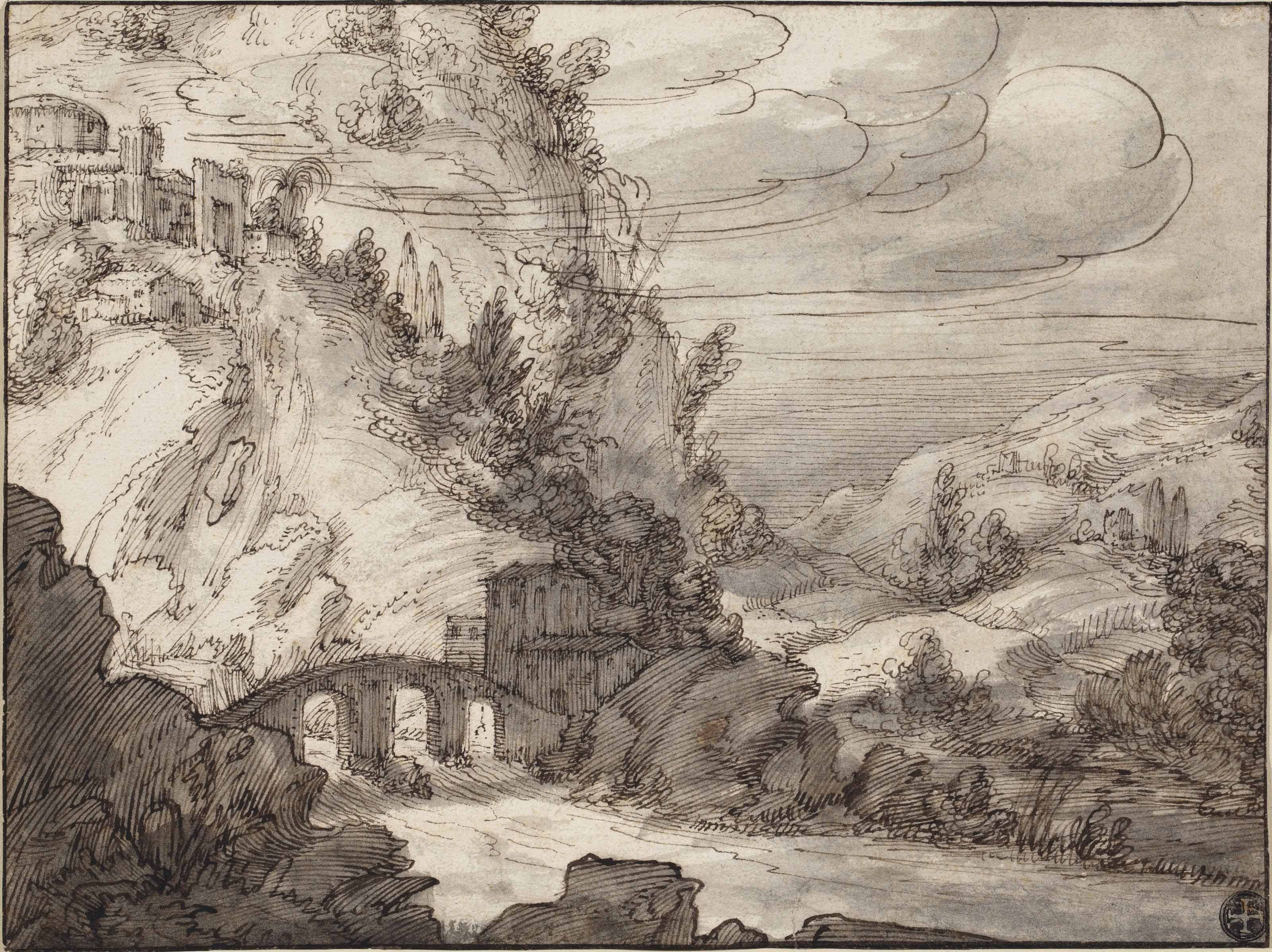 A mountainous landscape with an arched bridge over a river