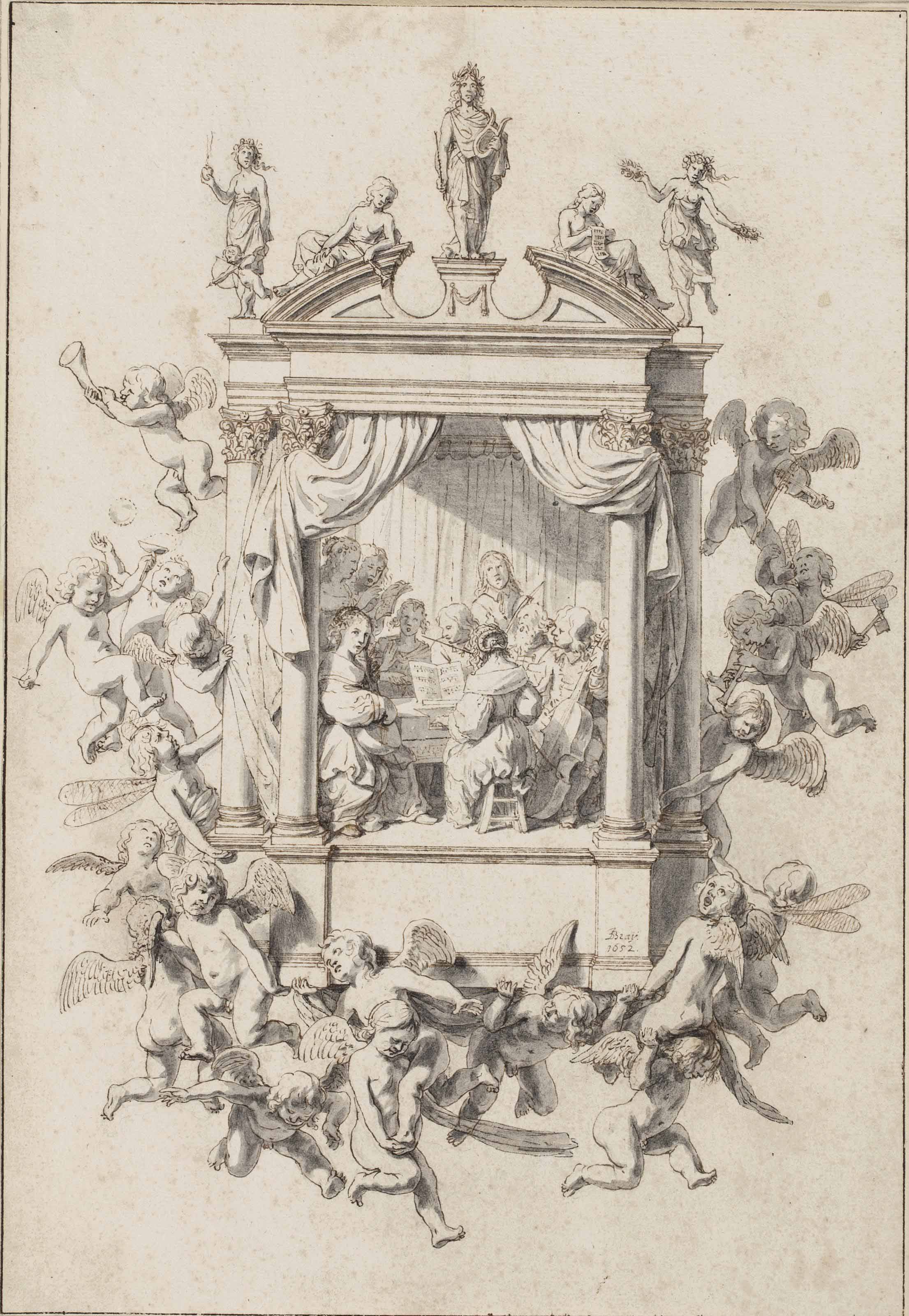 Design for a musical emblem: A chamber orchestra performing within an architectural surround, accompanied by putti, Apollo and the Muses