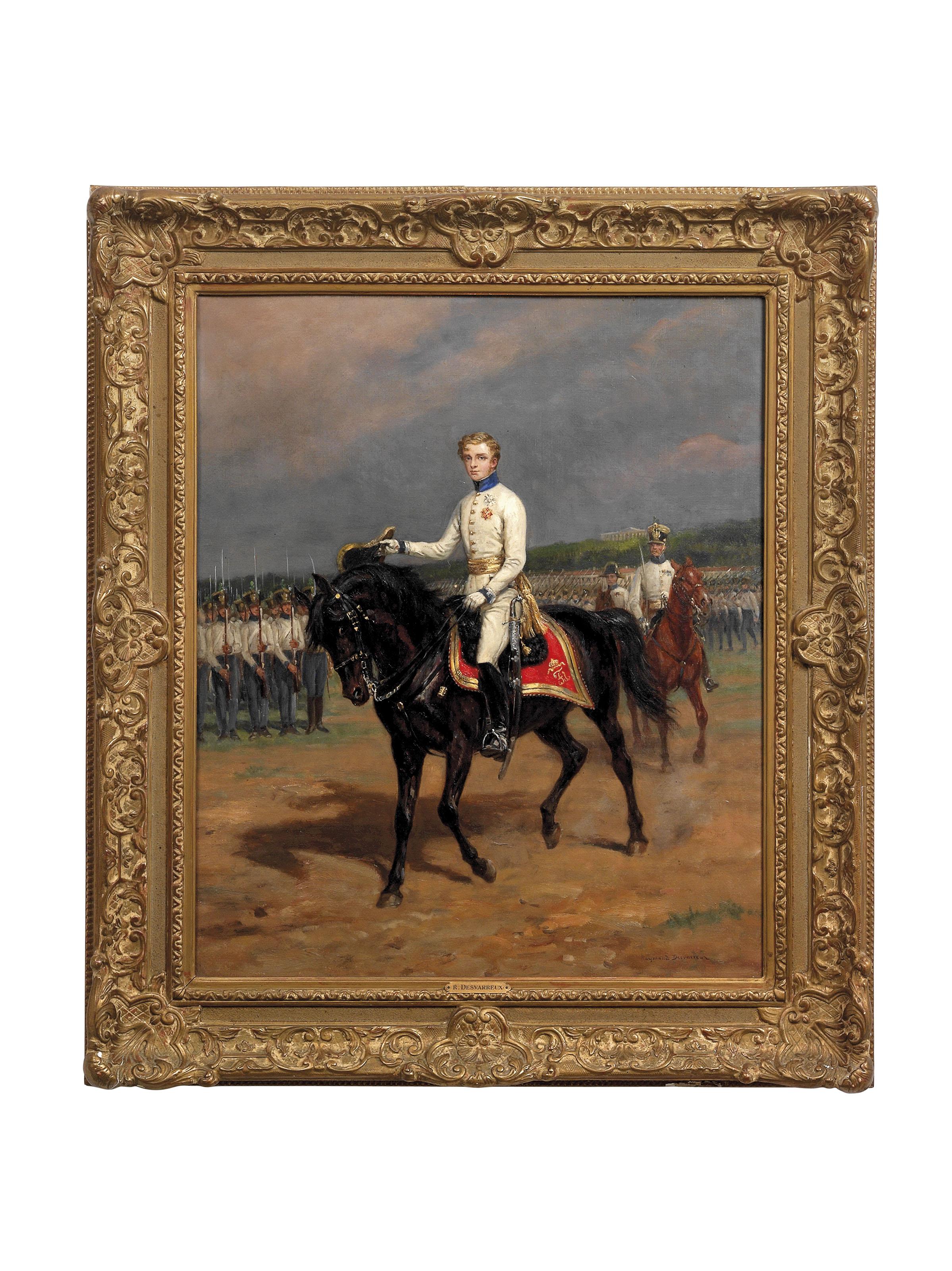 Portrait of Napoléon François Charles Joseph Bonaparte, Prince Imperial, King of Rome, Prince of Parma (1811 – 1832), small full-length, on horseback