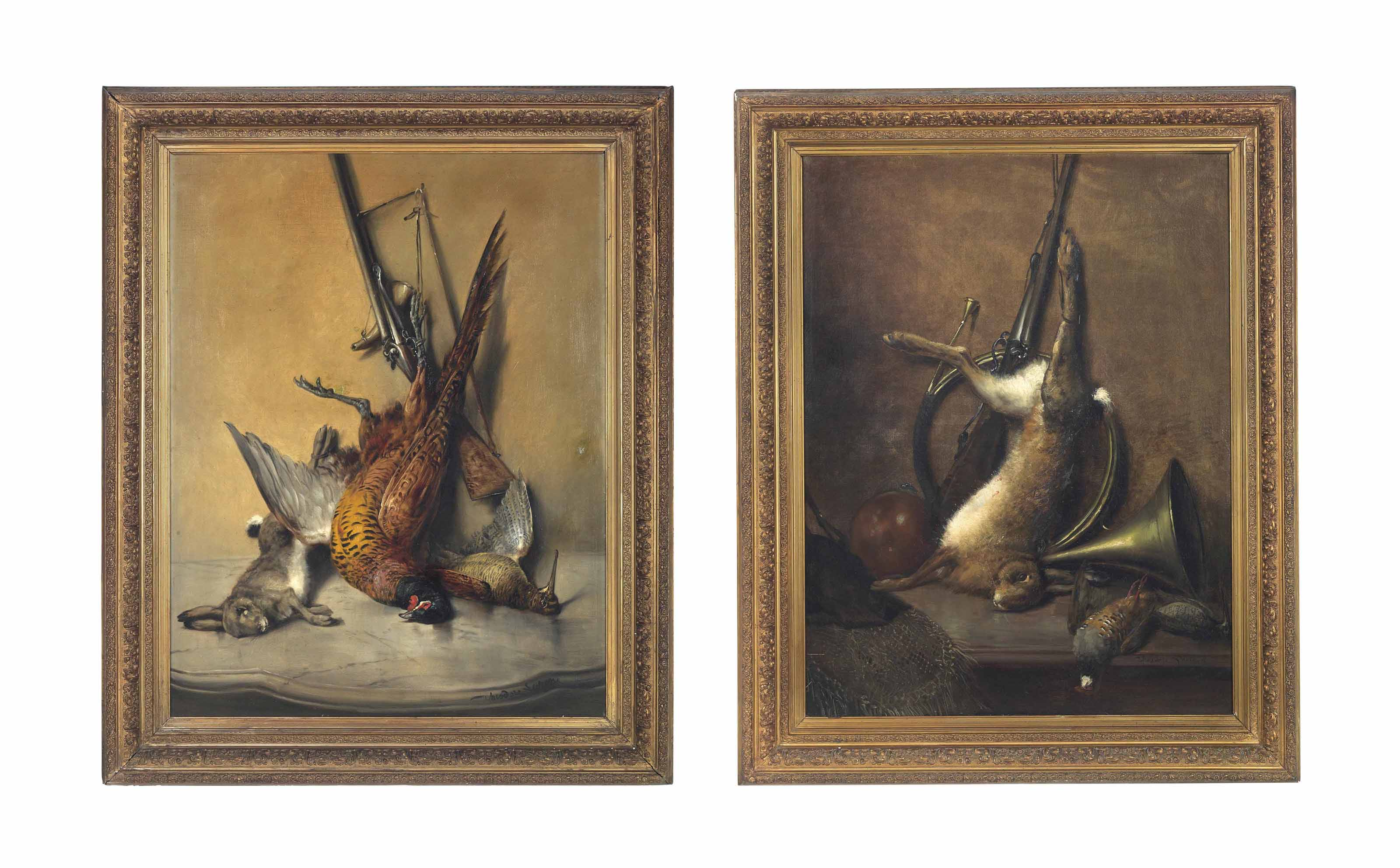 A pheasant, a hare and a snipe on a marble topped table; and A hare and a hunting horn on a ledge