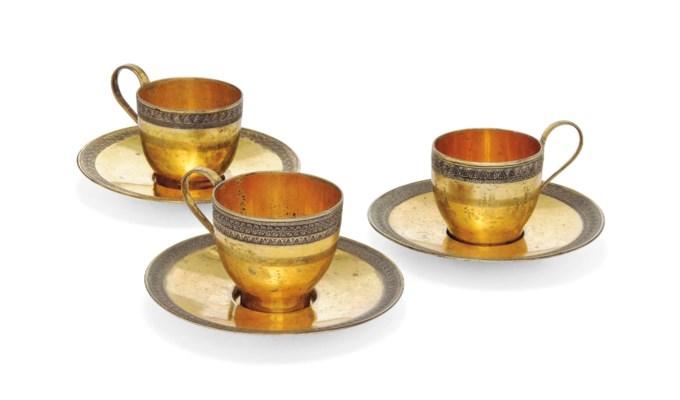THREE GERMAN SILVER-GILT COFFE