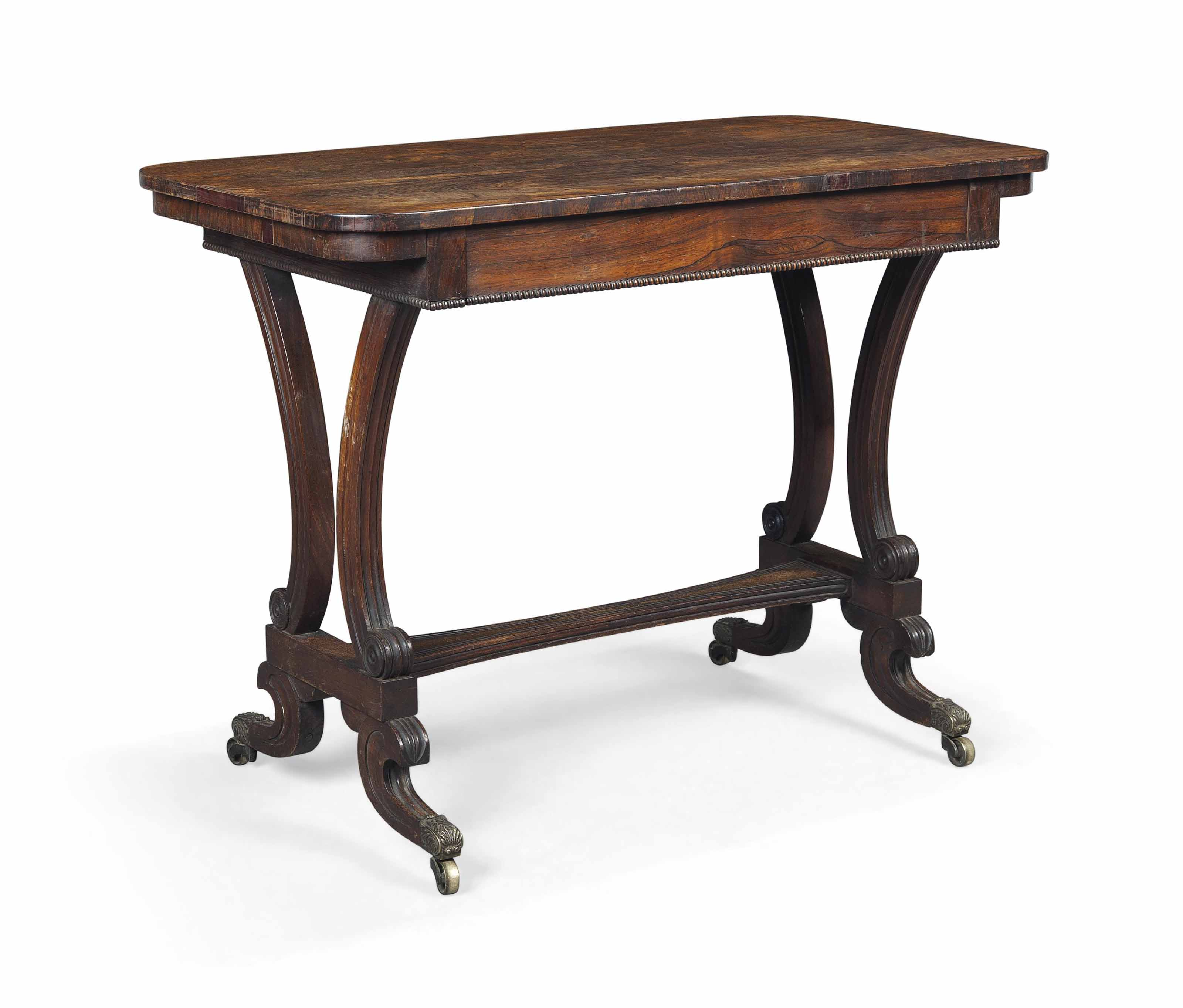 A REGENCY ROSEWOOD LIBRARY TABLE