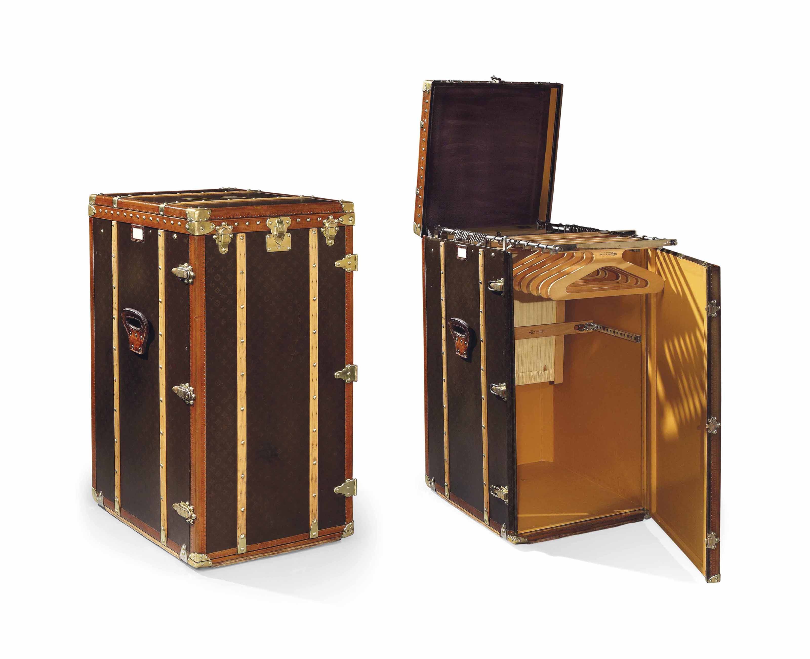 A MAGNIFICENT MONOGRAM CANVAS WARDROBE TRUNK, ONCE OWNED BY NORMA SHEARER