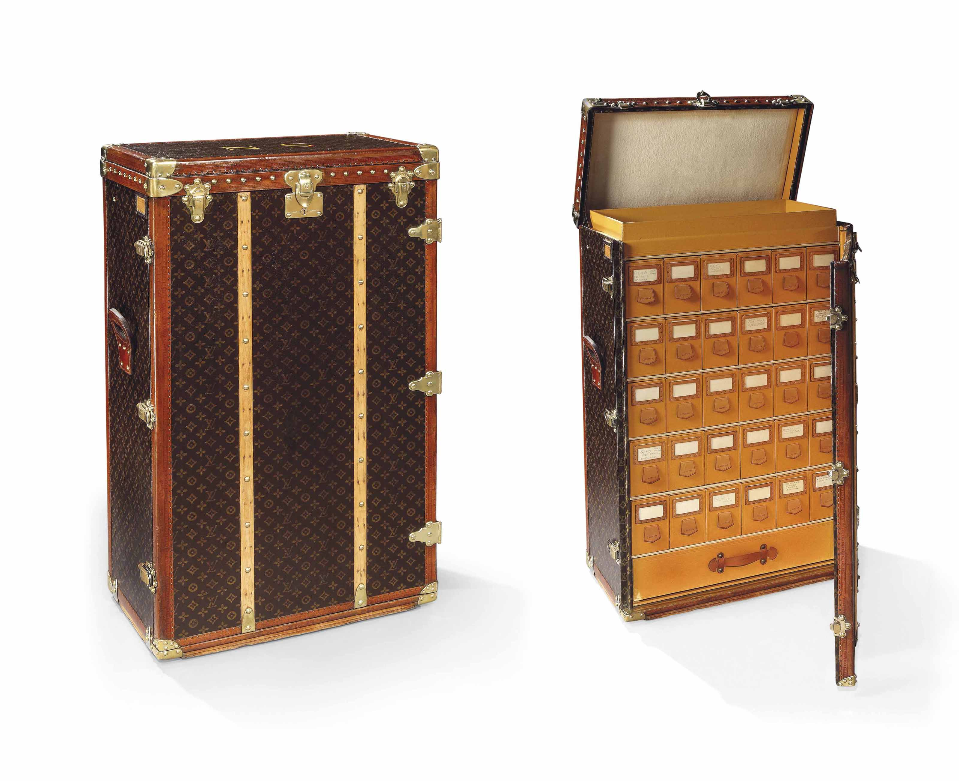 A RARE MONOGRAM CANVAS SHOE TRUNK ONCE OWNED BY NORMA SHEARER