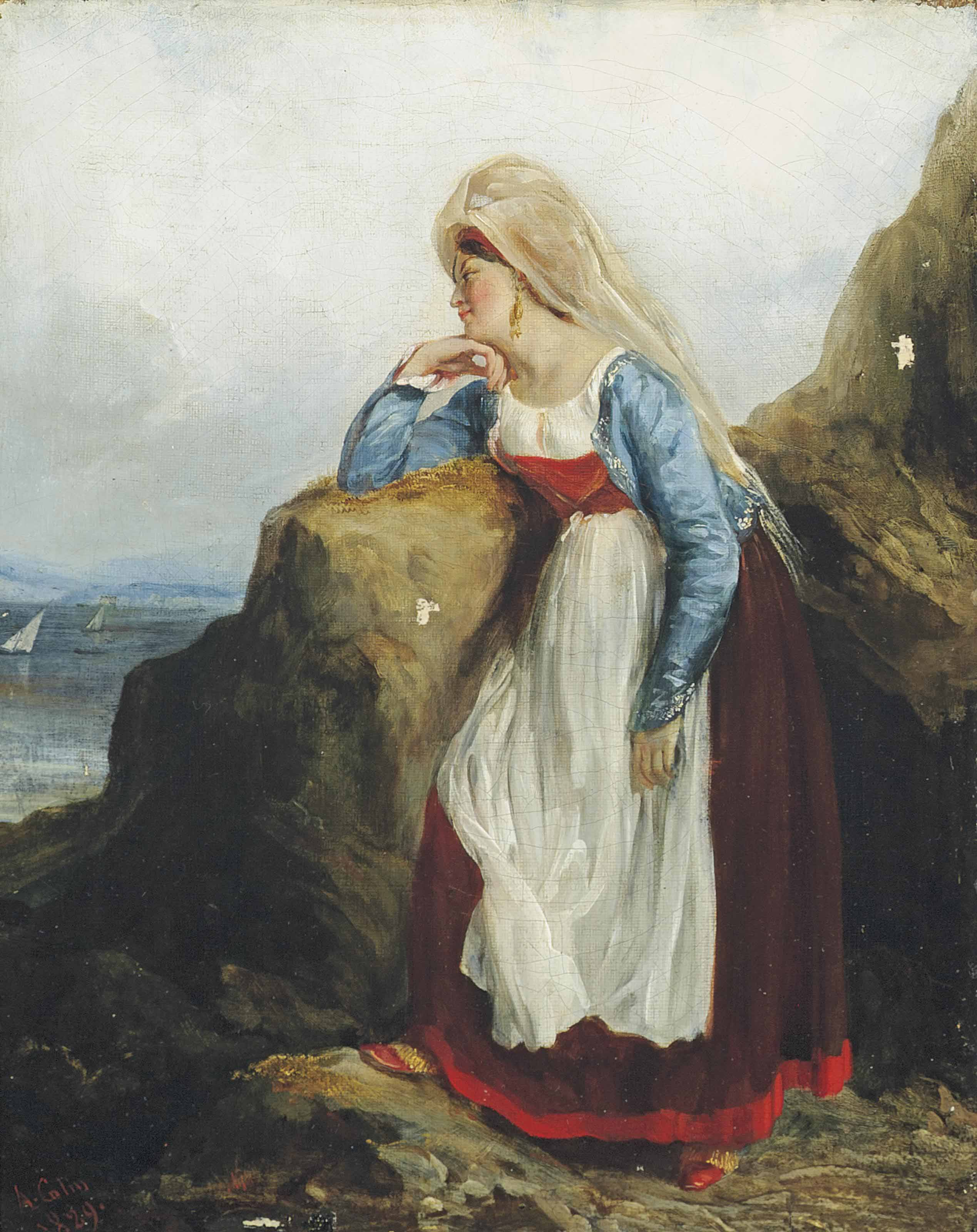 A maiden waiting by the shore