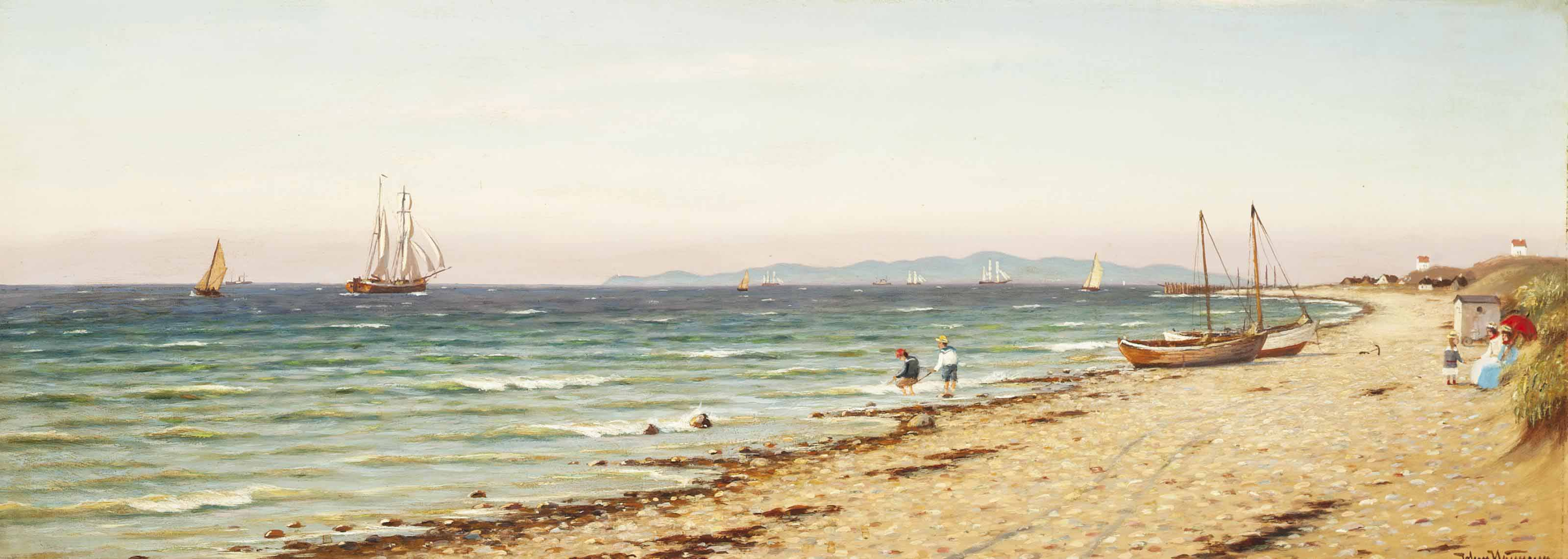 Children playing on the shore
