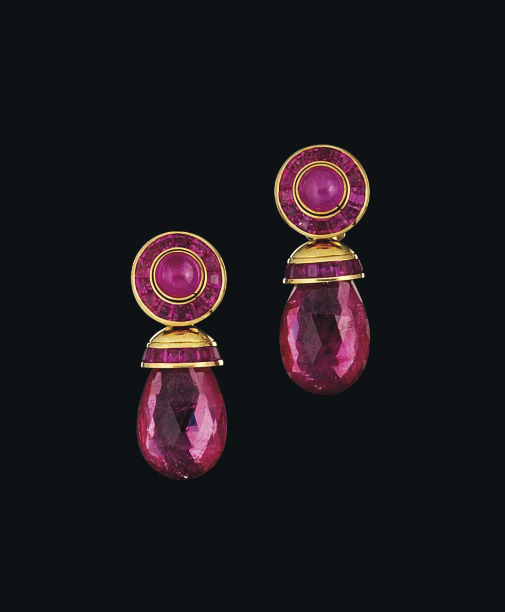 A pair of pink tourmaline and pink sapphire earrings, by Hemmerle