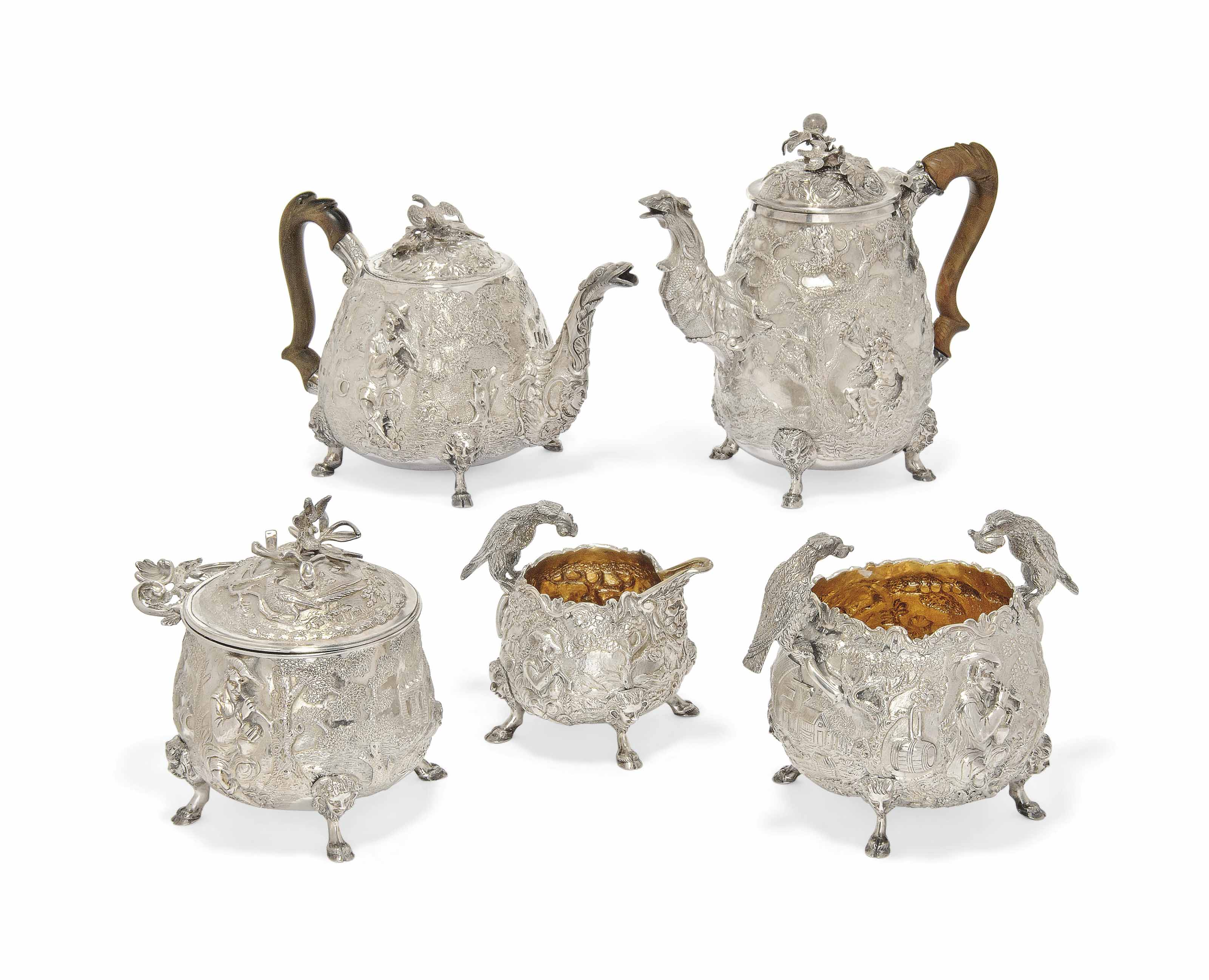 A GEORGE III SILVER FIVE-PIECE TEA AND COFFEE SERVICE