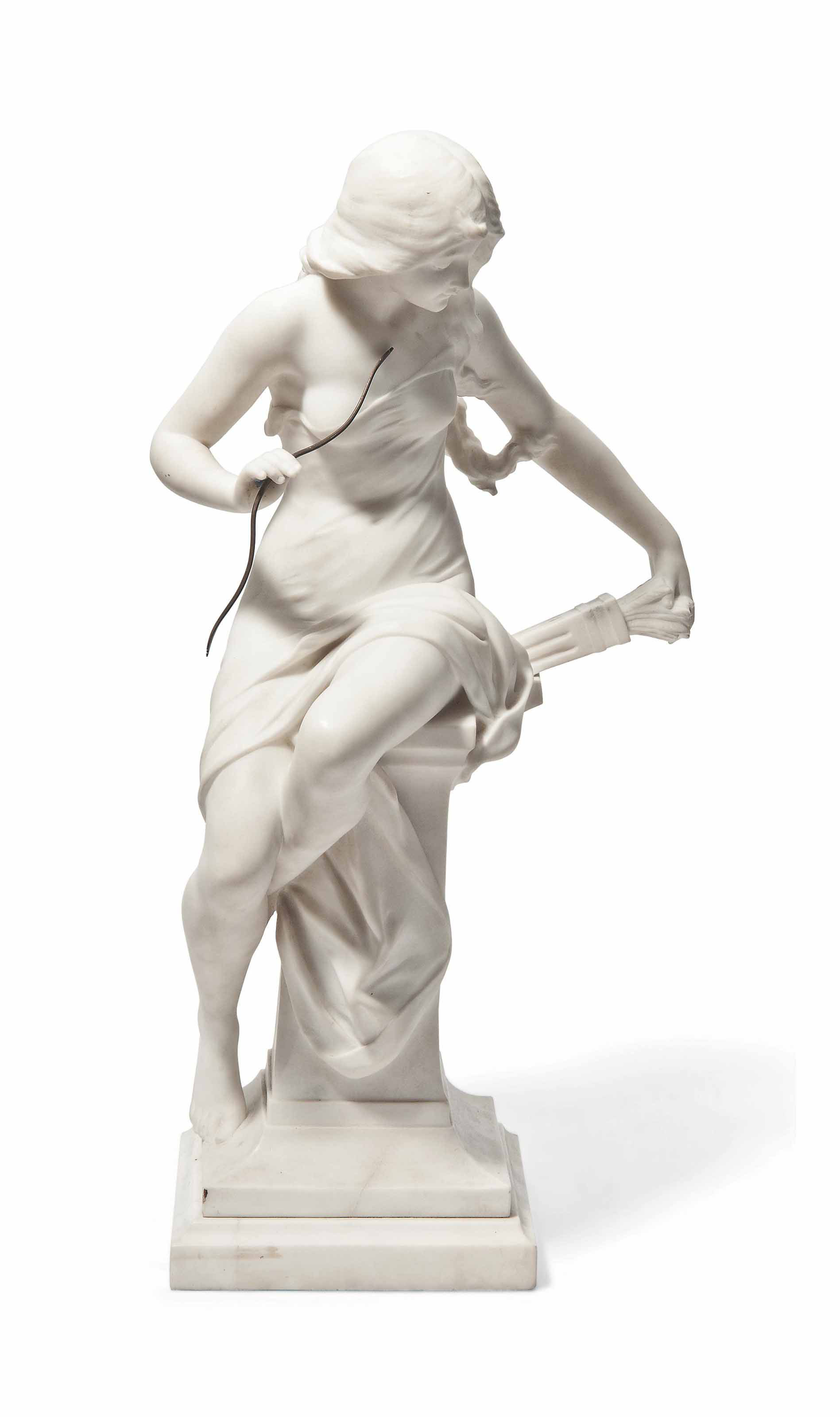 A FRENCH WHITE MARBLE FIGURE OF DIANA