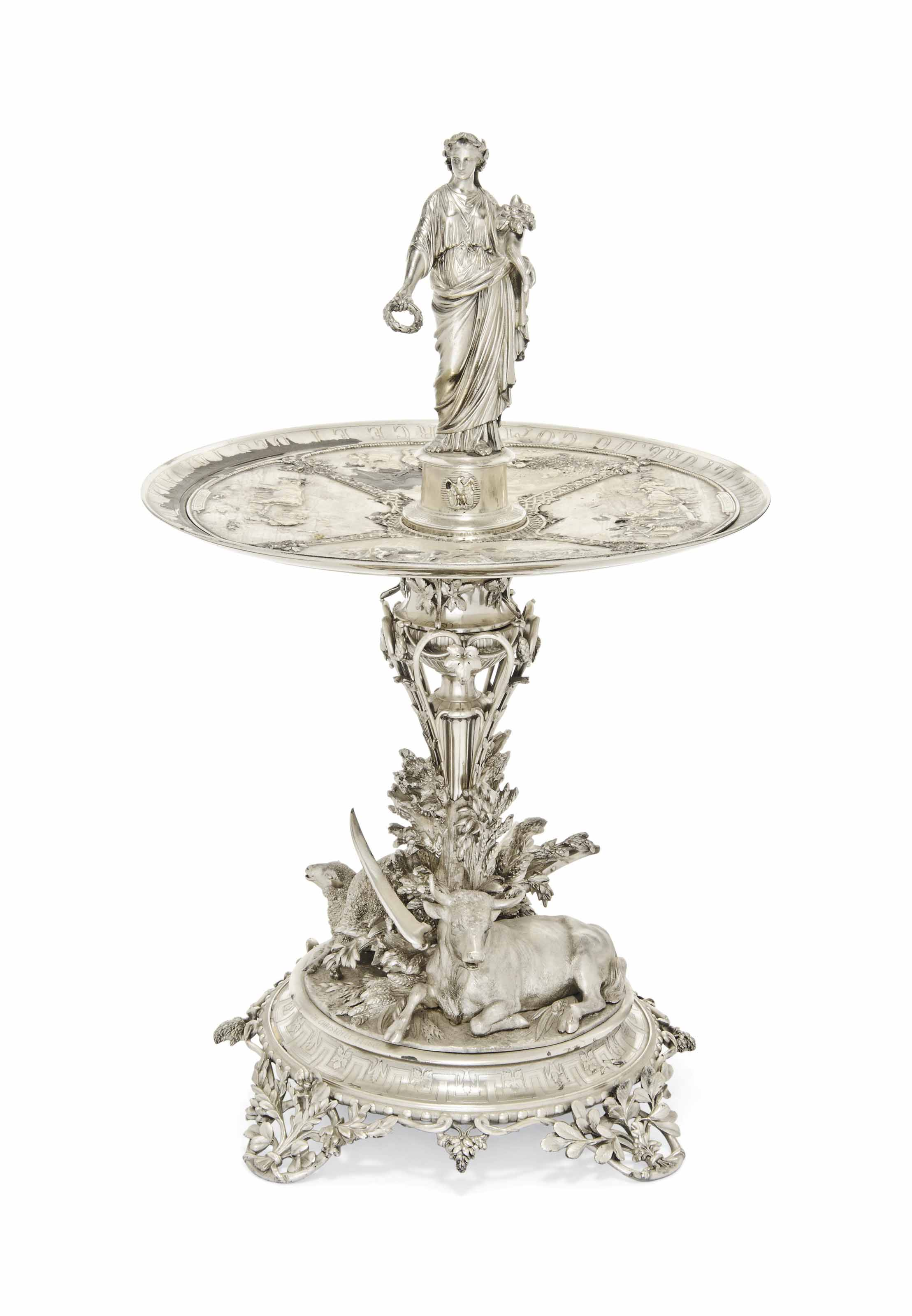 A FRENCH PARCEL-GILT SILVER AGRICULTURAL PRIZE CENTREPIECE