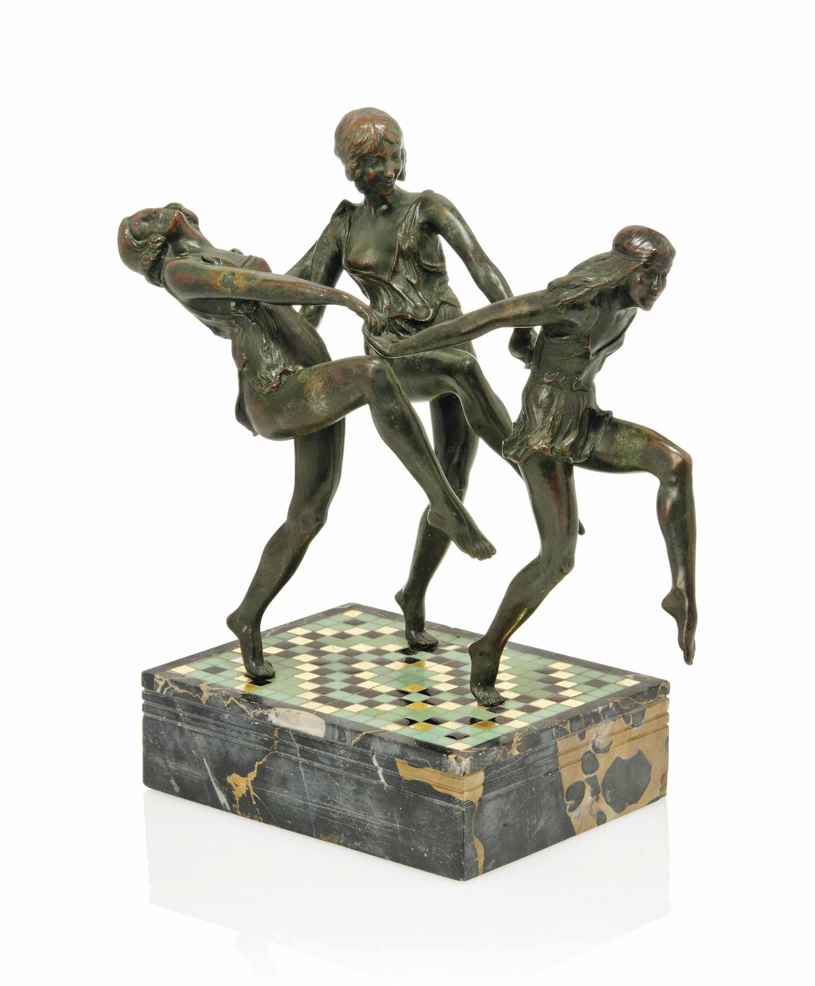 'THE DANCE', A PIERRE LE FAGUAYS COLD-PAINTED BRONZE GROUP