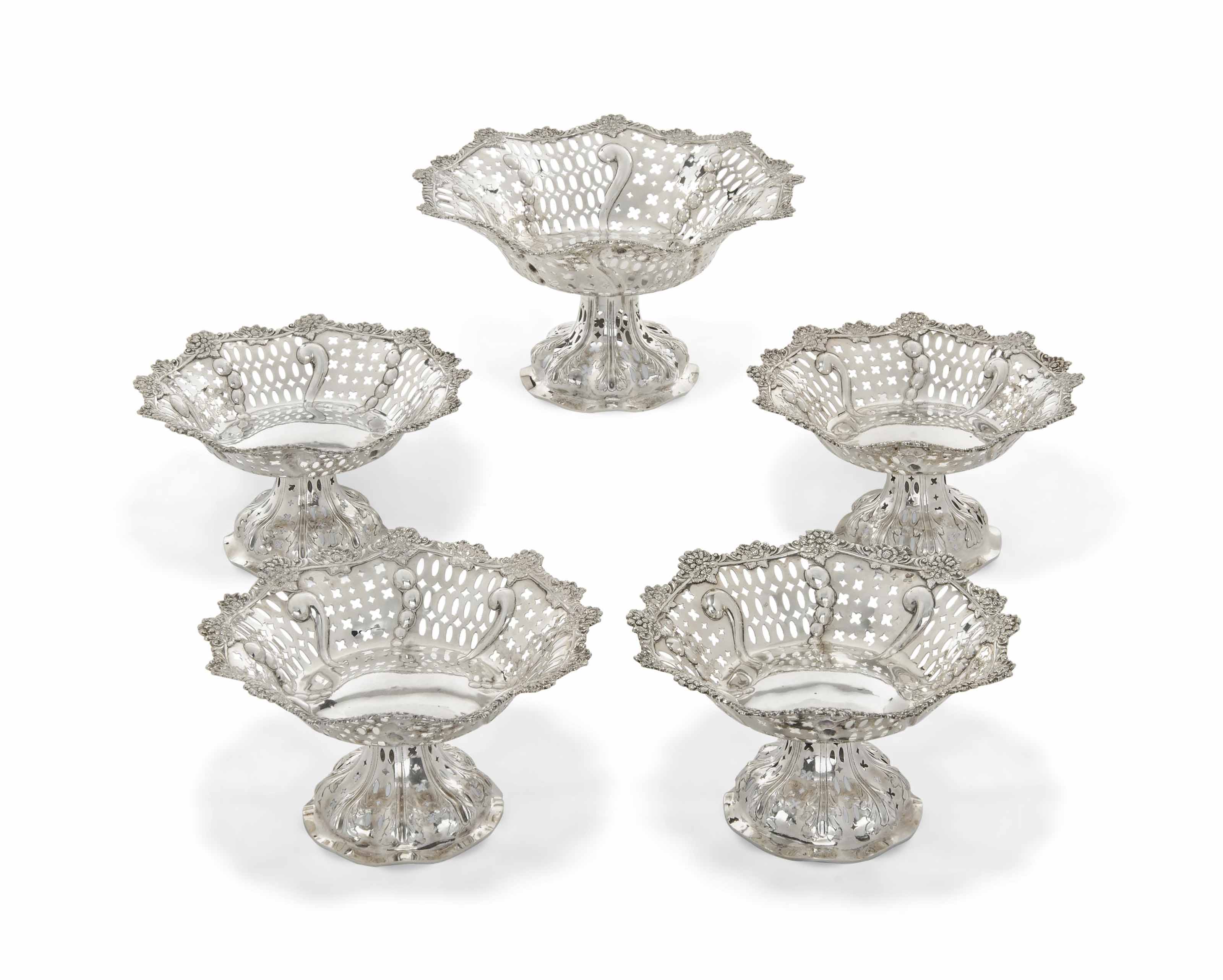 A SUITE OF FIVE VICTORIAN SILVER TAZZE