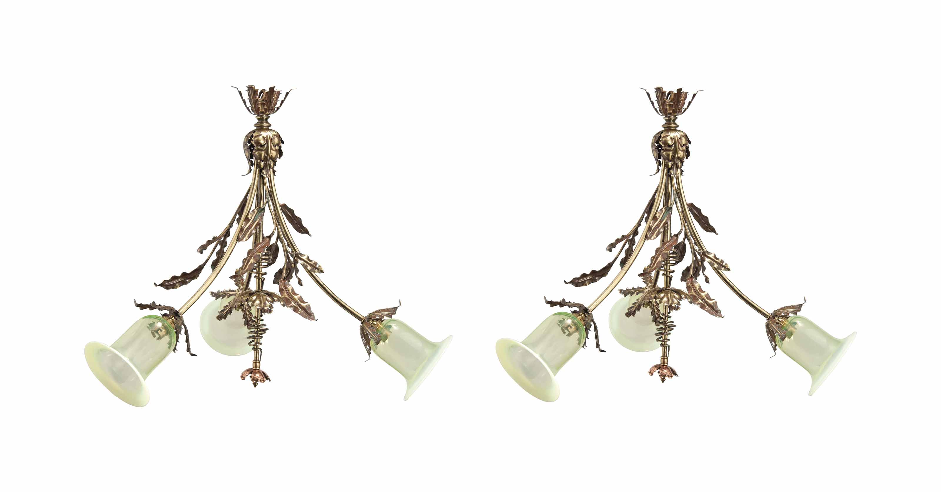 A PAIR OF COPPER AND BRASS THREE-LIGHT CHANDELIER