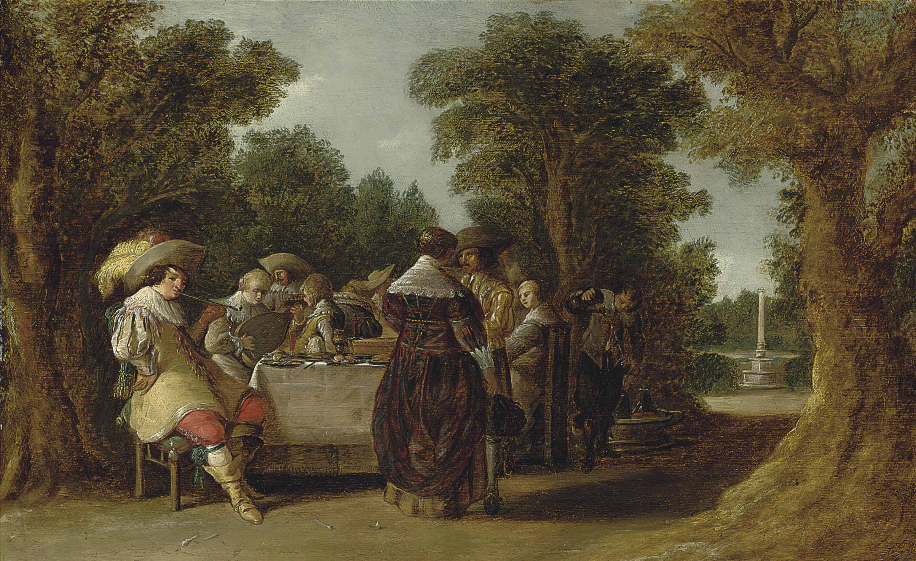 A banquet with elegant company in a wooded landscape