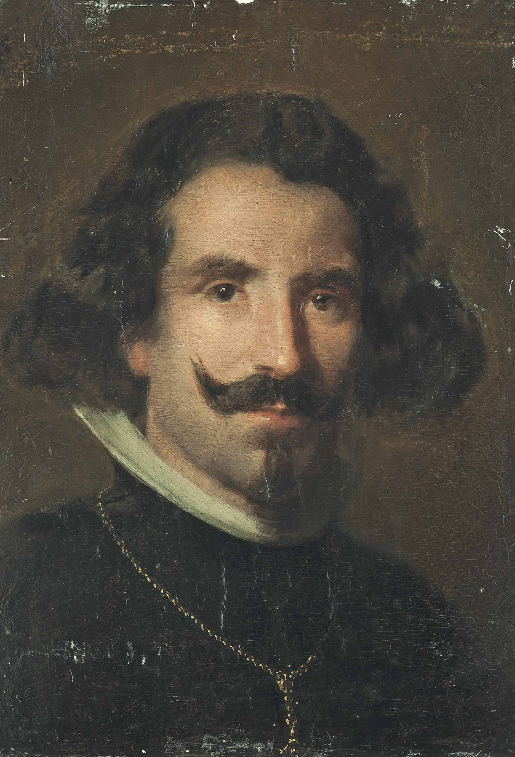 Portrait of Diego Velázquez (1599-1660), bust-length, in a black coat with a gold chain