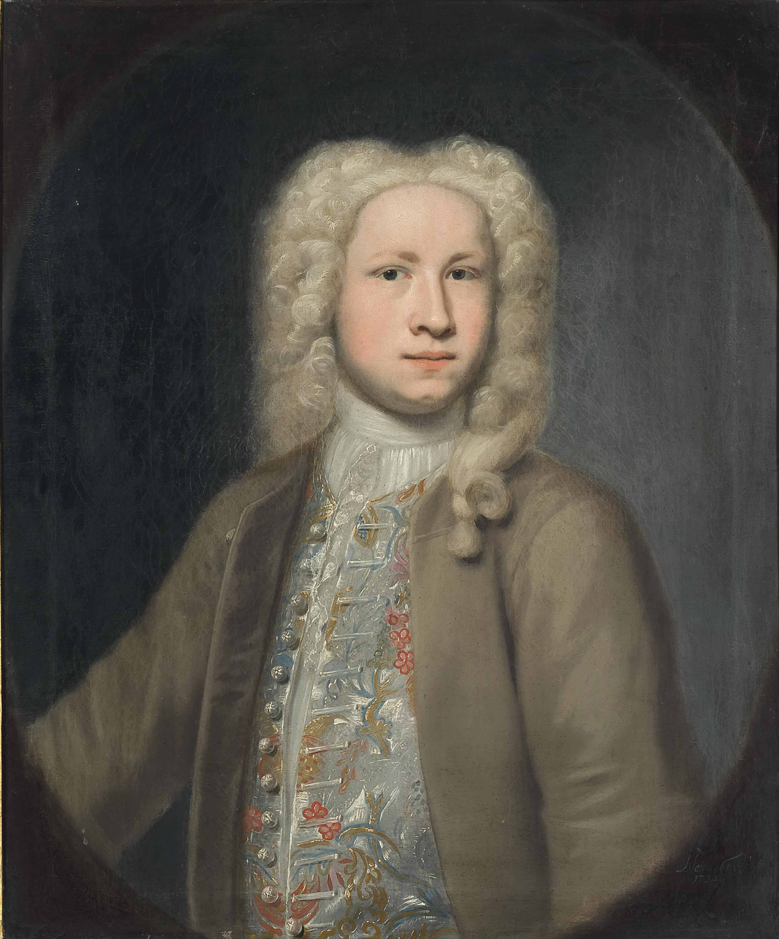 Portrait of John Davy, half-length, in a brown coat and embroidered waistcoat