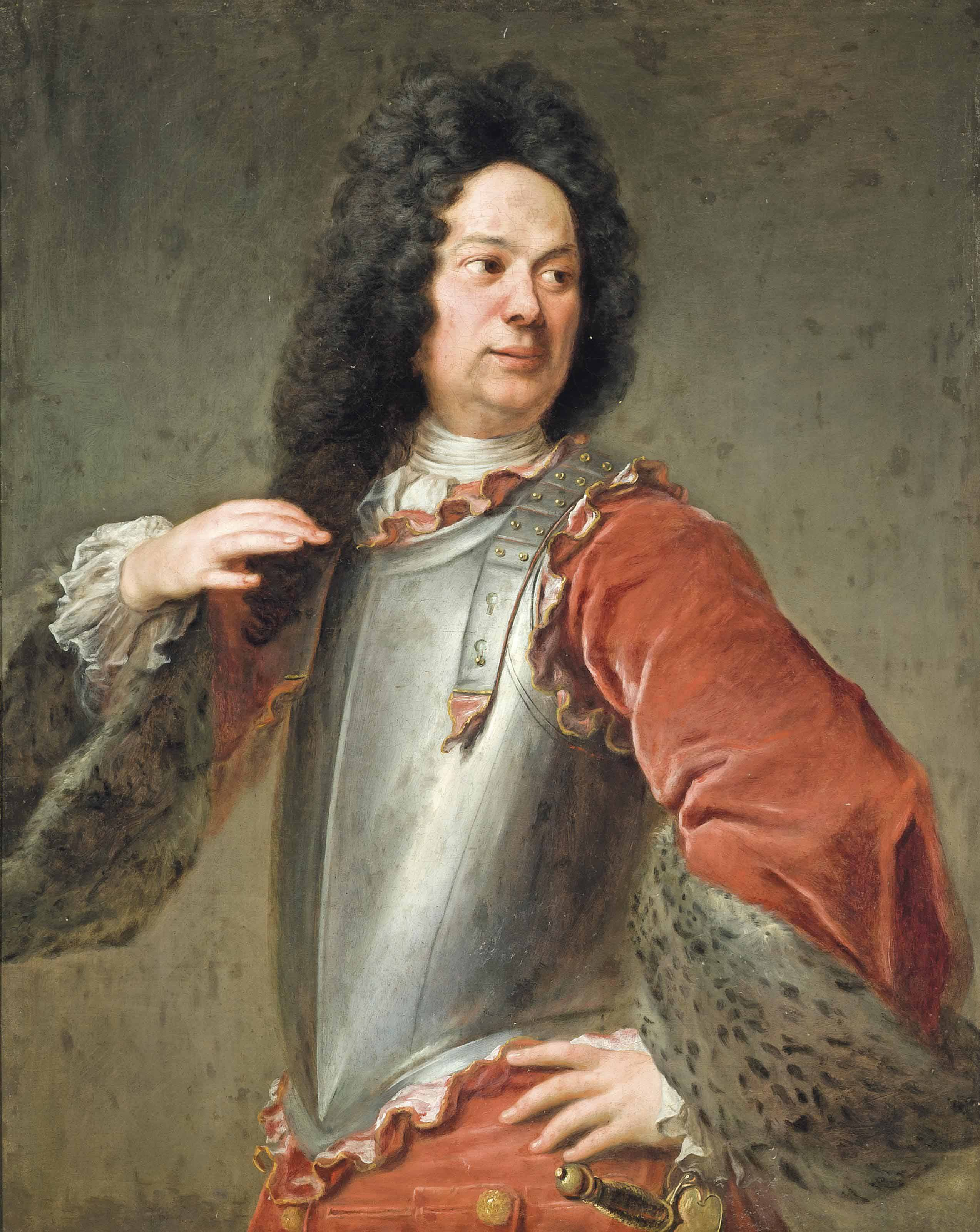 Portrait of a gentleman, half-length, in a breastplate and red coat with fur trim