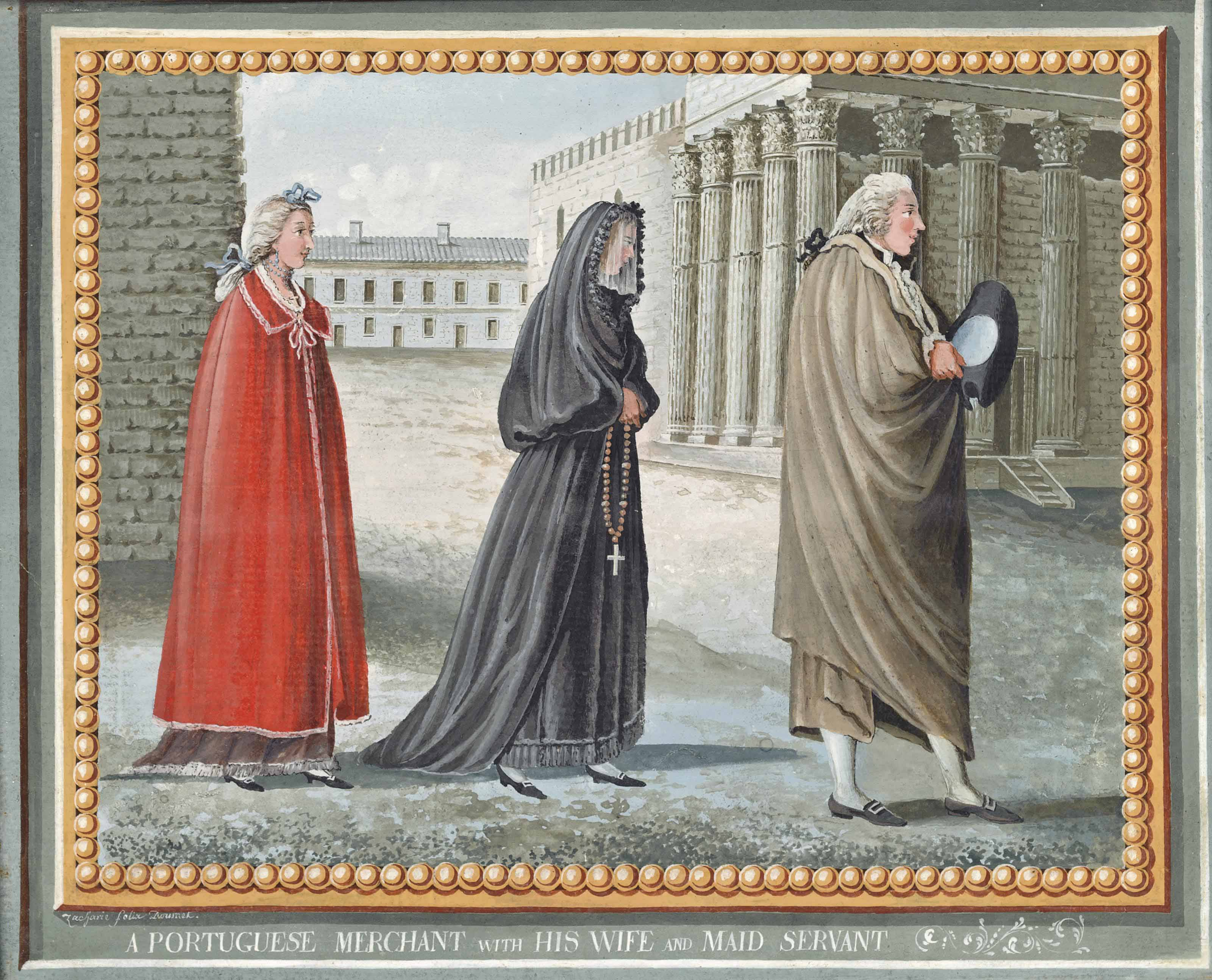 A peasant of Alenteju, a Lisbon fruit woman and a woman of Beira; and A Portuguese Merchant with his wife and maid servant (illustrated)