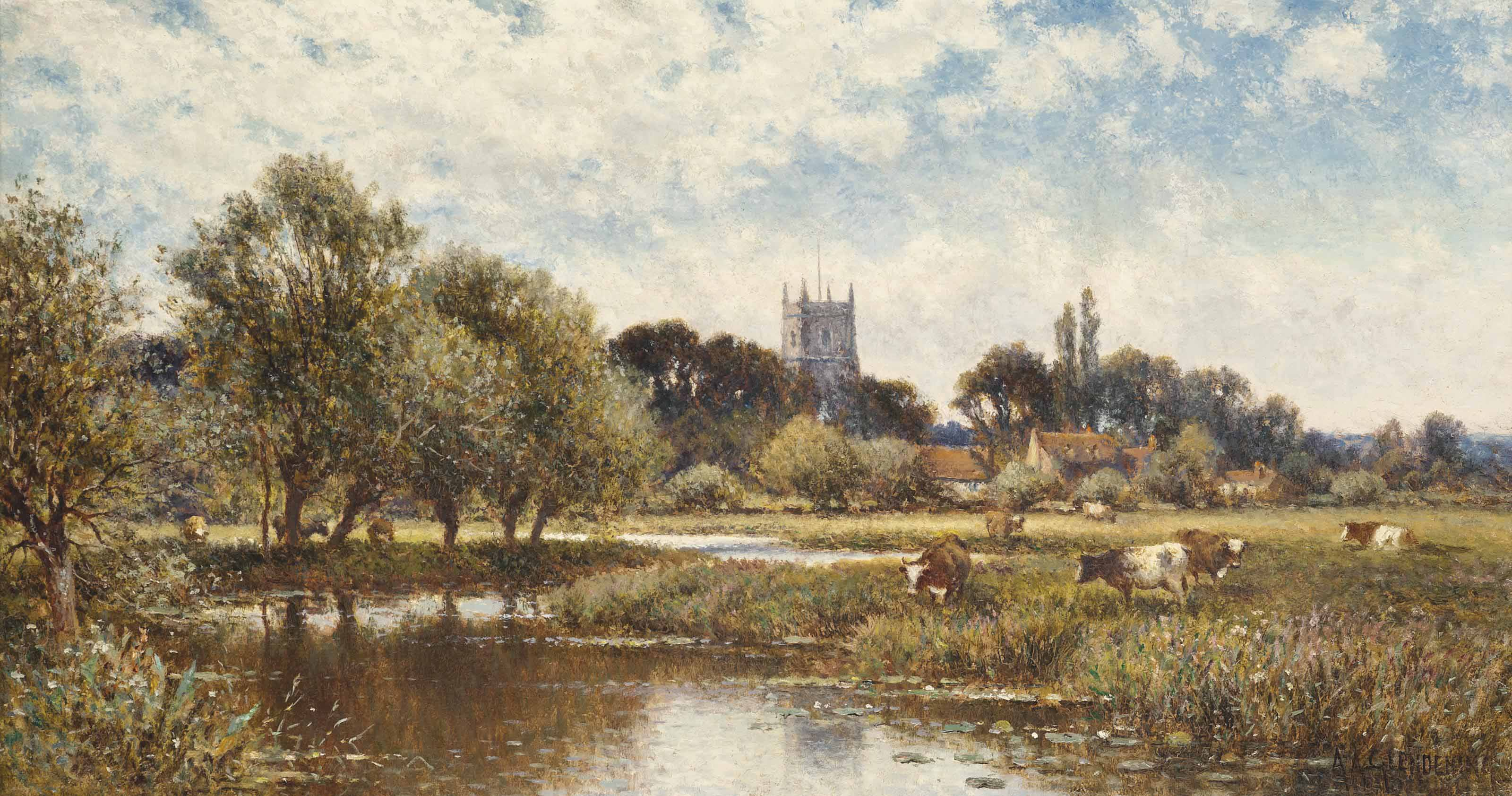 Cattle watering, Kempstead-on-Thames