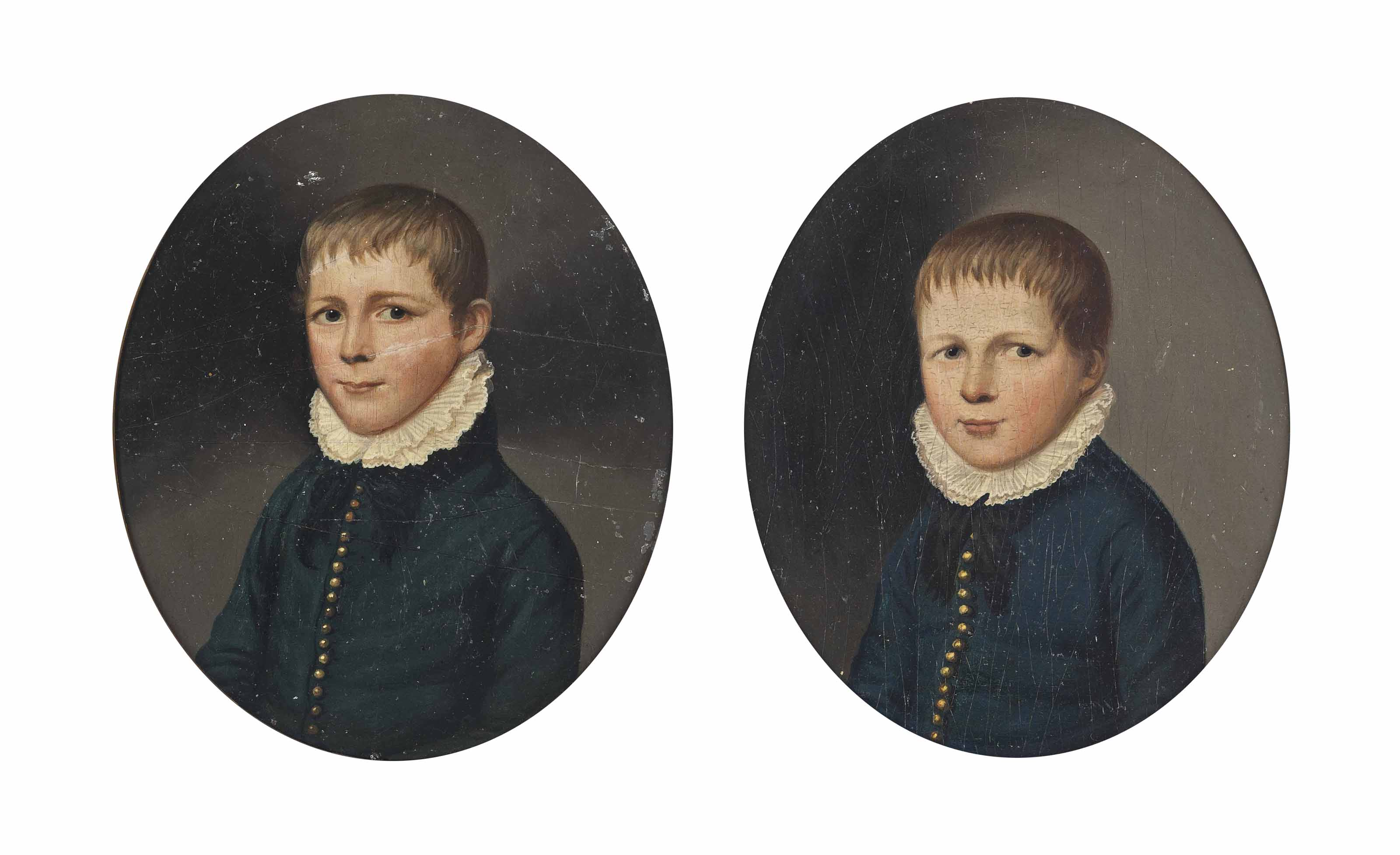 Portrait of  a young boy, bust length, thought to be a member of the Cholmondley family, wearing blue  jackets with white collar; and Another portrait of  a young boy, half length, thought to be a member of the Cholmondley family, wearing blue jackets with white collar