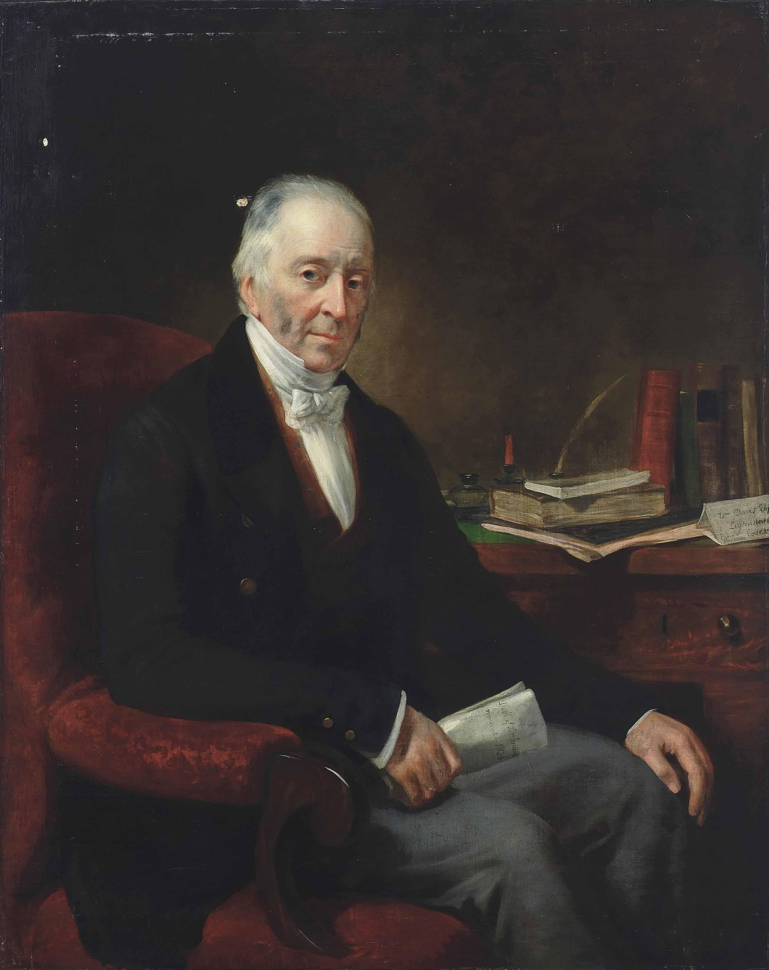 Portrait of William Davis of Leytonstone, seated at his desk, three-quarter length