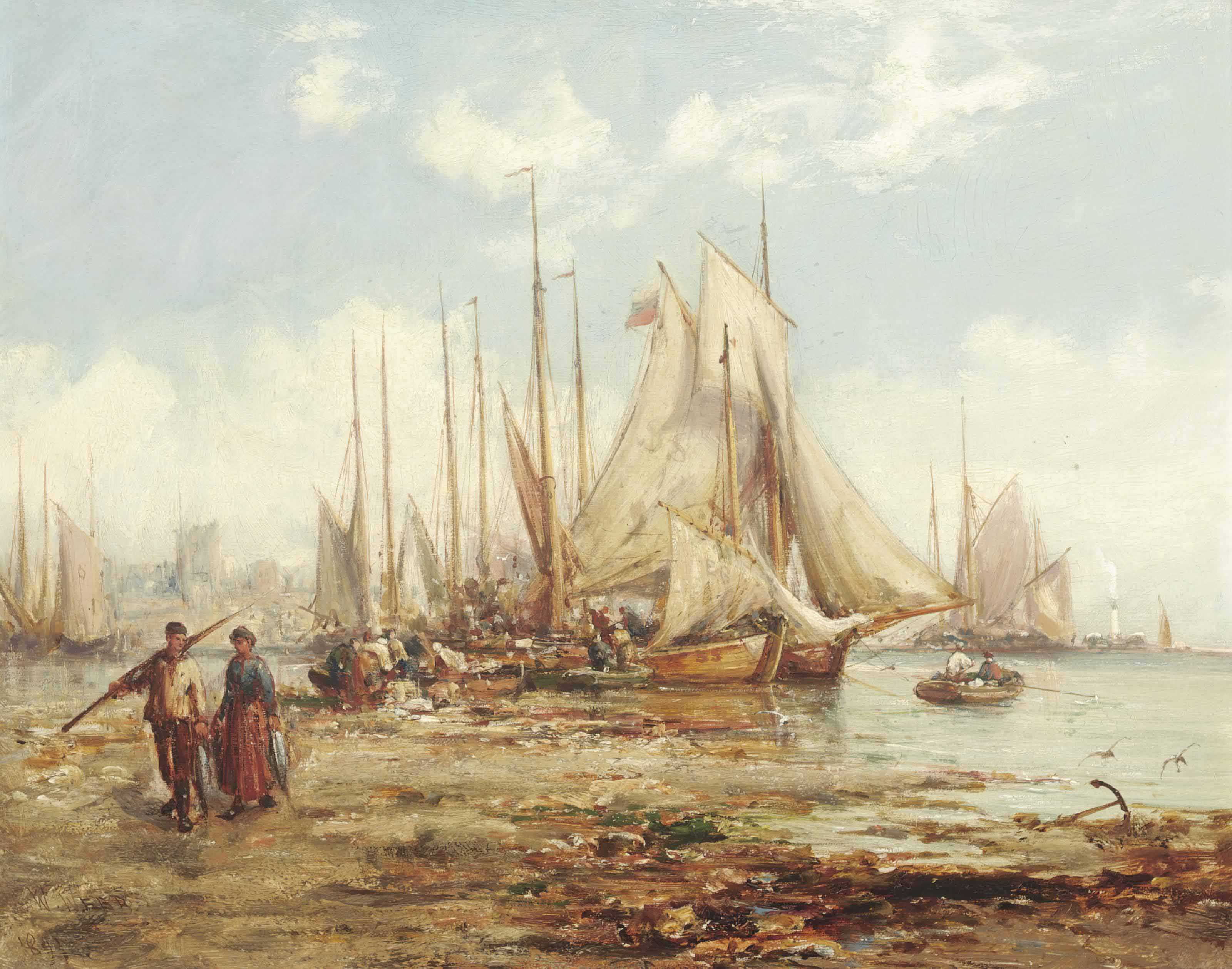 The St. Ives fishing fleet unloading their catch