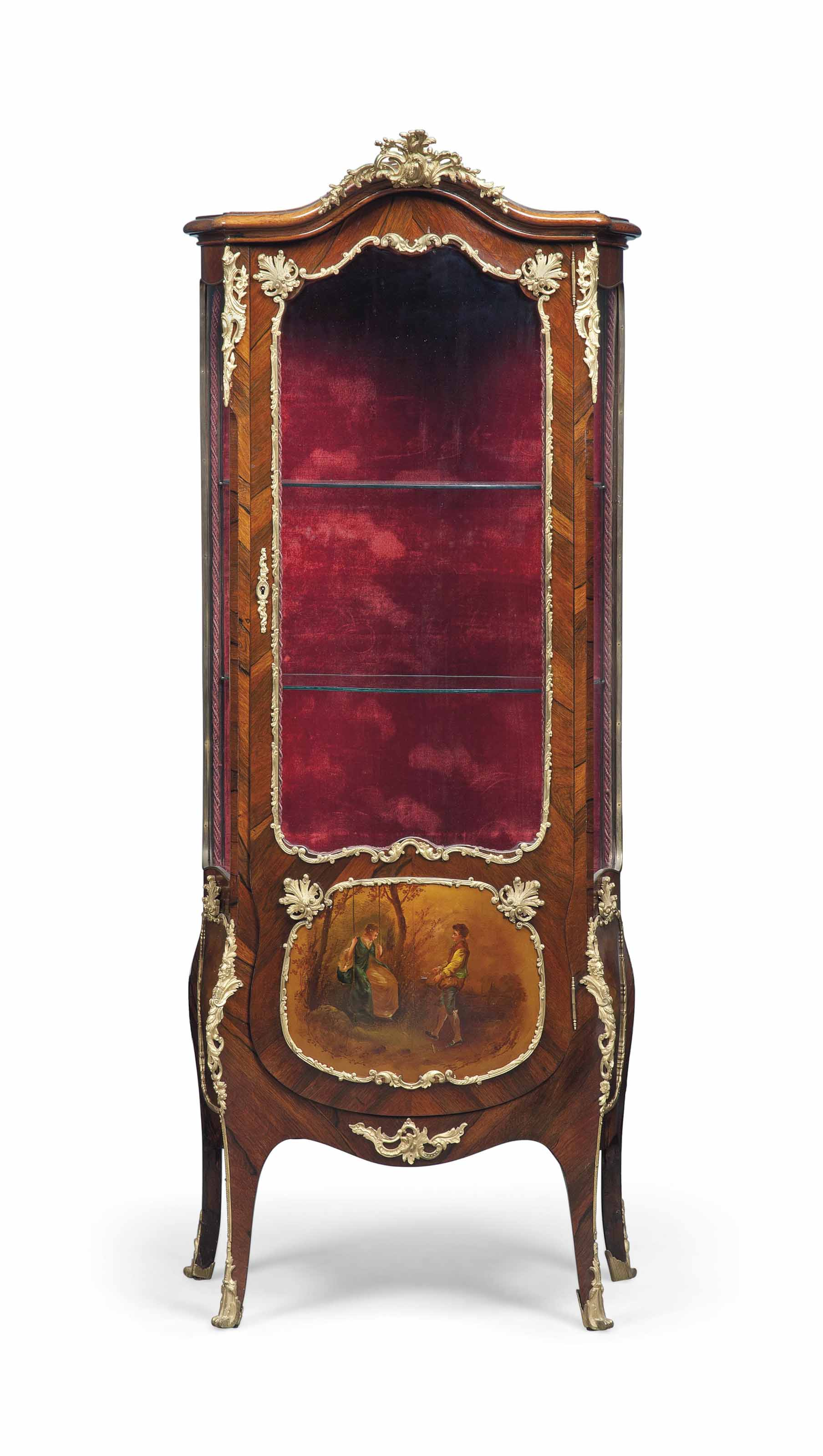 A FRENCH ORMOLU-MOUNTED ROSEWOOD AND VERNIS MARTIN VITRINE