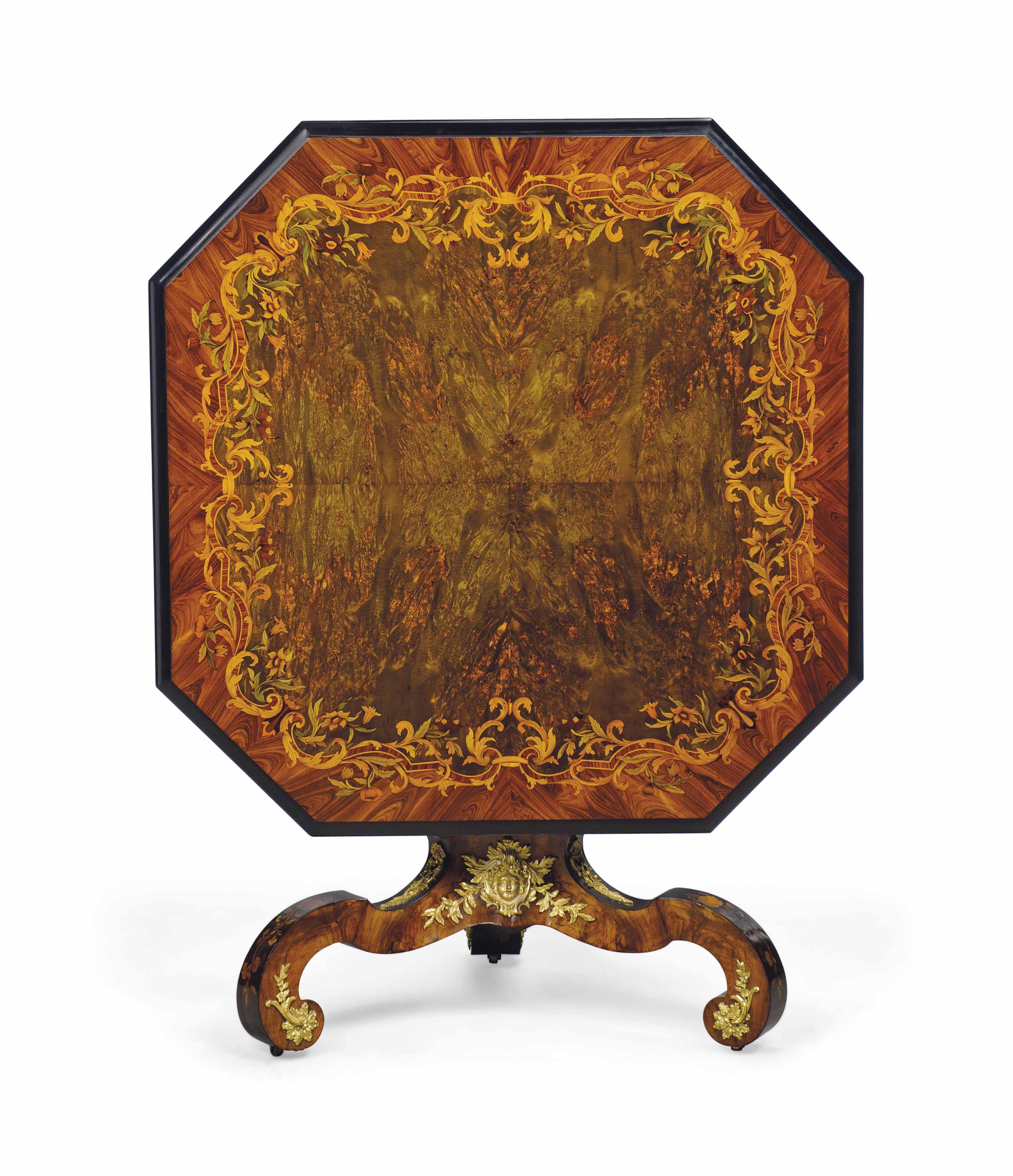 AN EARLY VICTORIAN ORMOLU-MOUNTED AND MOTHER-OF-PEARL INLAID BURR MAPLE, BURR WALNUT, KINGWOOD, TULIPWOOD AND MARQUETRY CENTRE TABLE