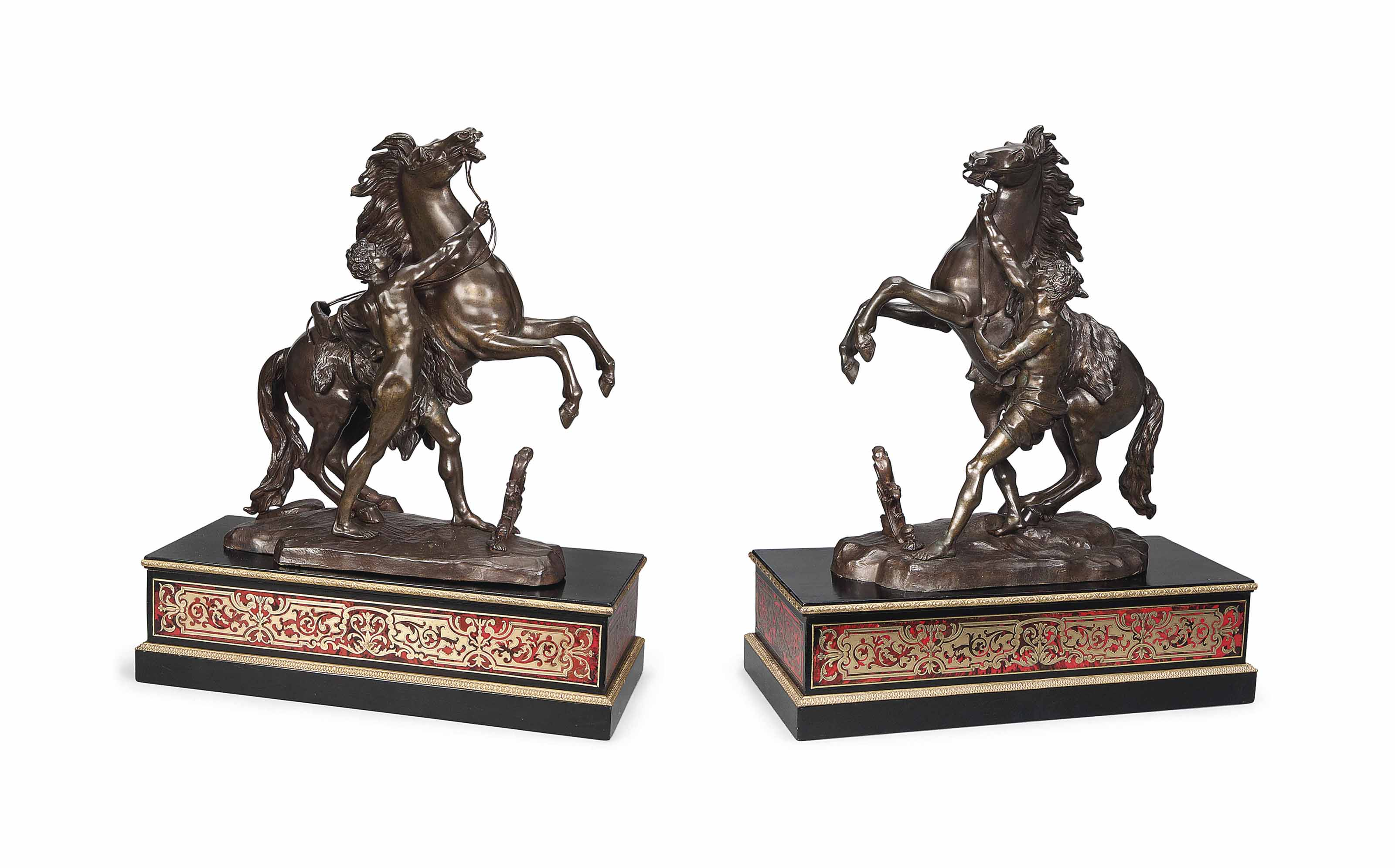 A LARGE PAIR OF FRENCH BRONZE MODELS OF THE MARLY HORSES