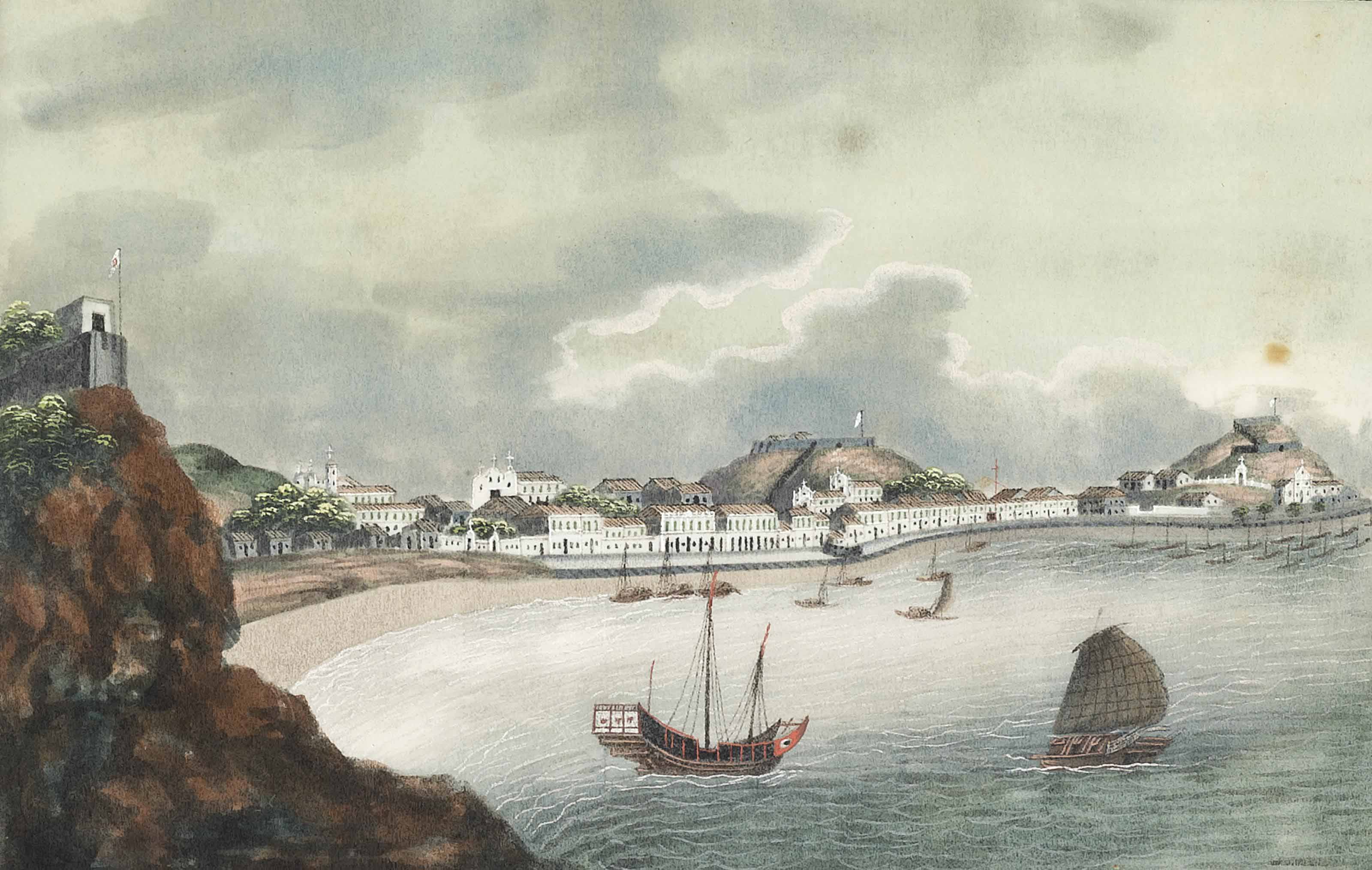 The Hongs at Canton; Whampoa Anchorage; The Praya Grande, Macao; and Bocca Tigris