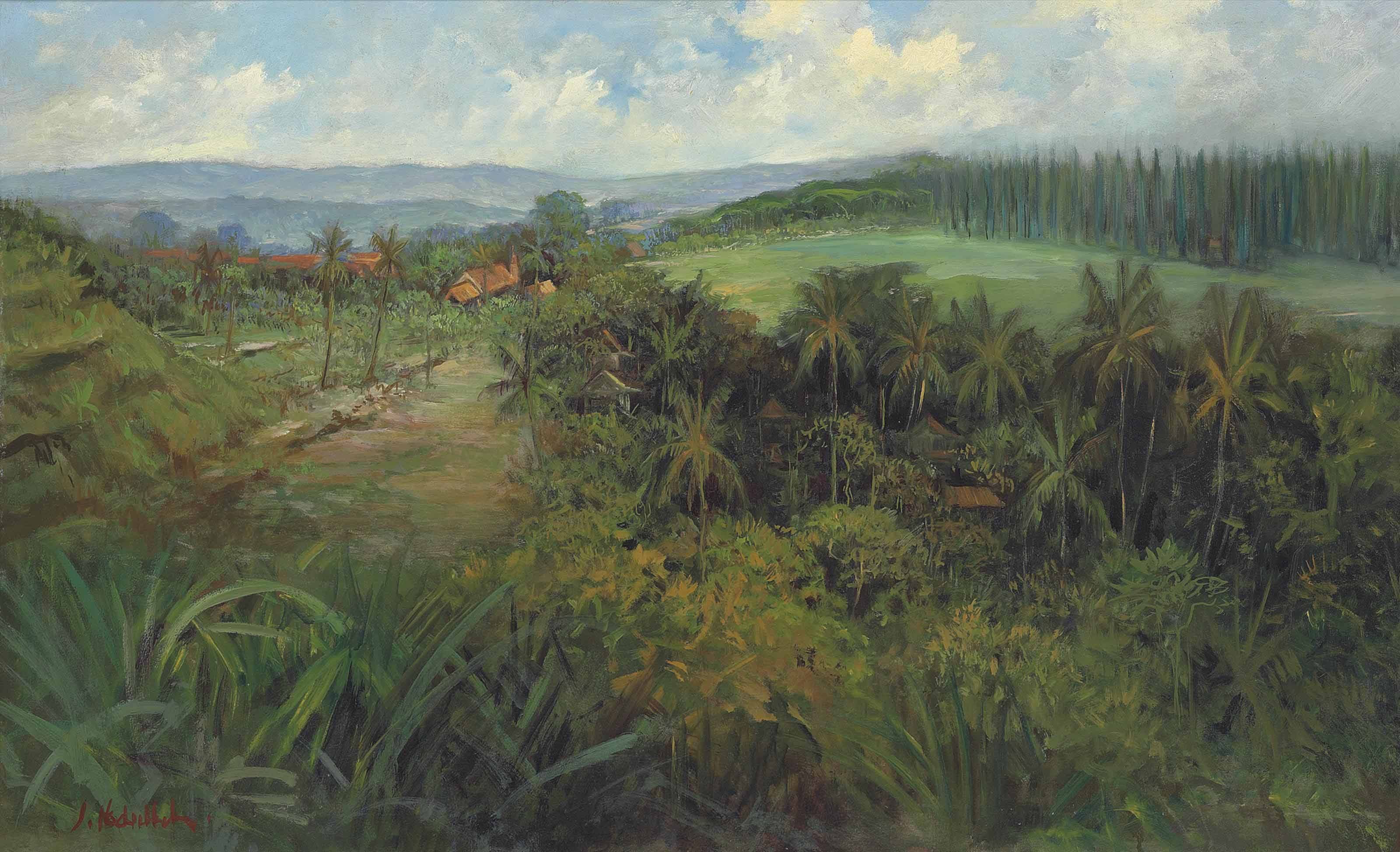 An Indonesian landscape, with houses, palm trees and rice fields