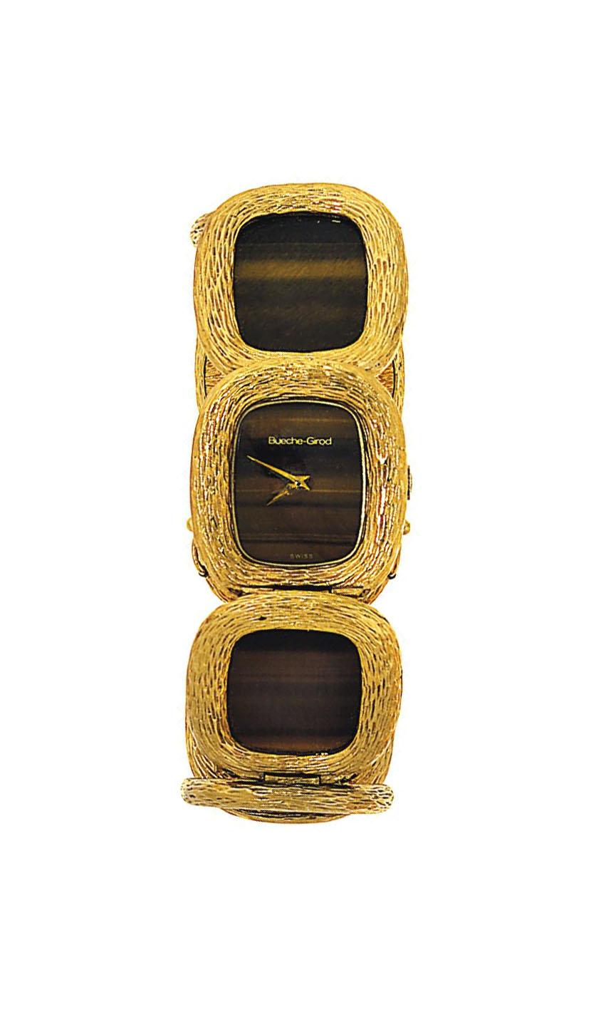 A tiger's eye quartz wristwatch, by Bueche-Girod