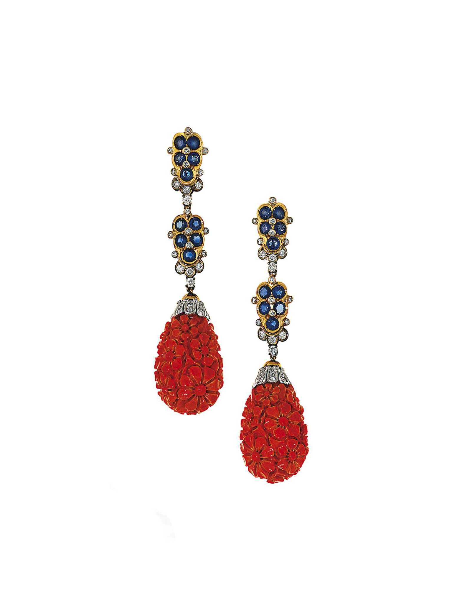 A pair of coral, sapphire and diamond pendent earrings, by Moroni