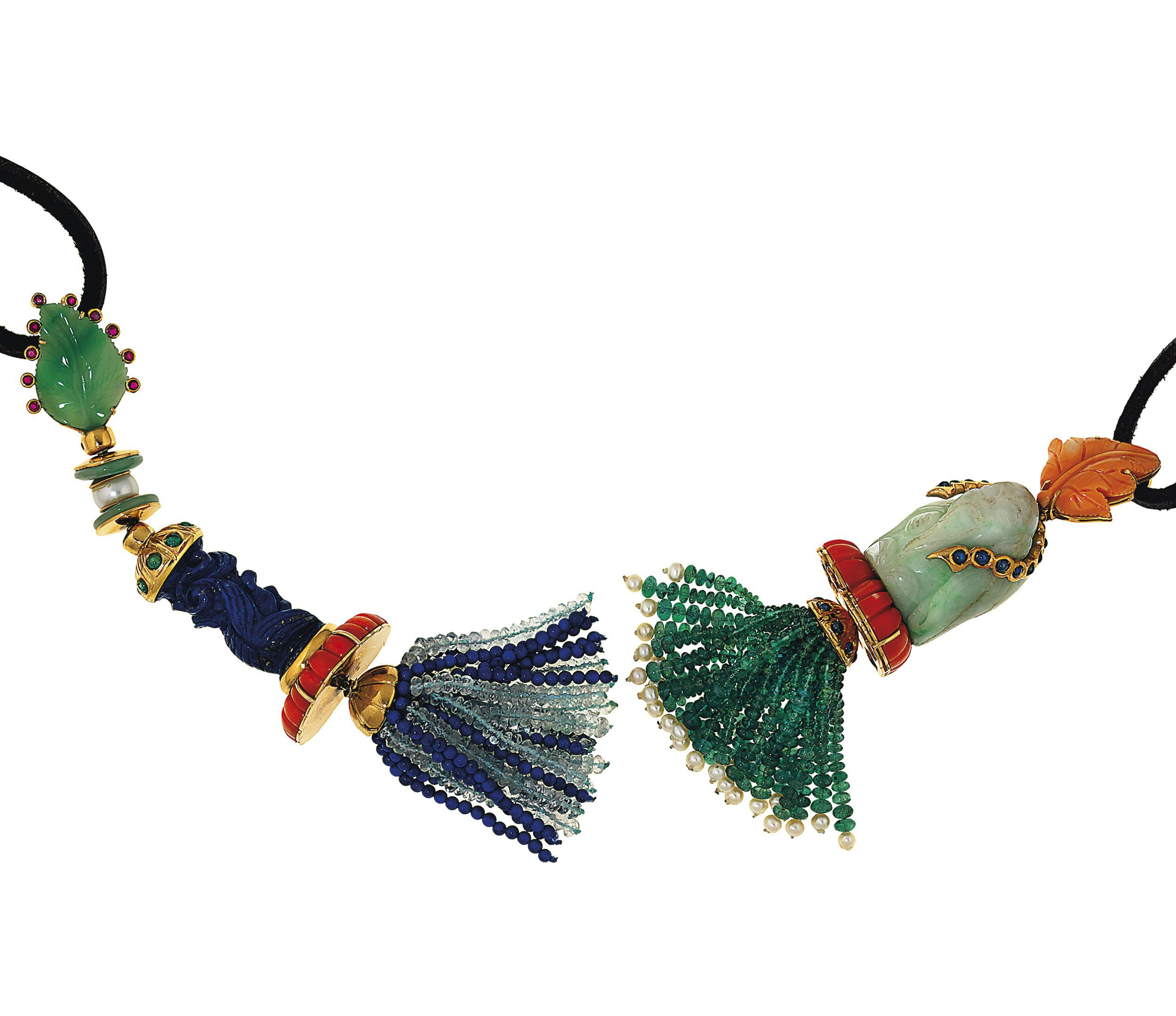 Two jadeite jade, coral and gem pendants
