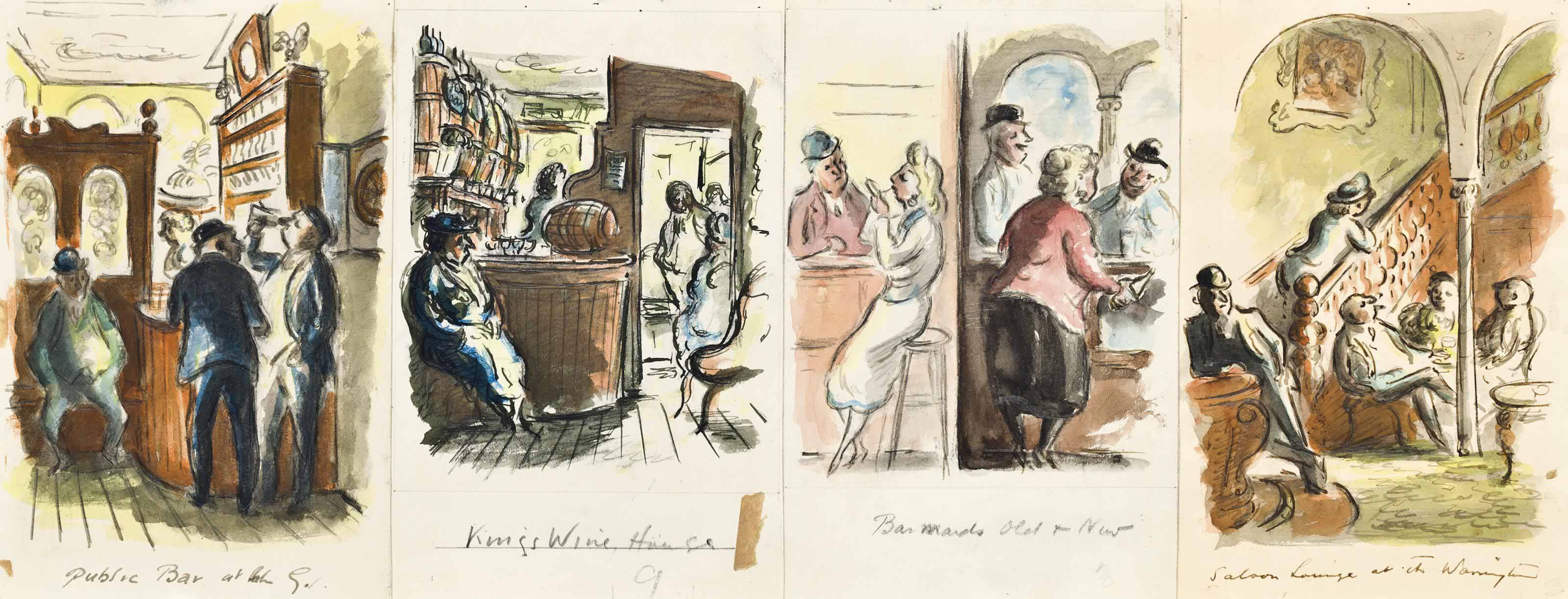 Four illustrations of pub interiors (all illustrated)