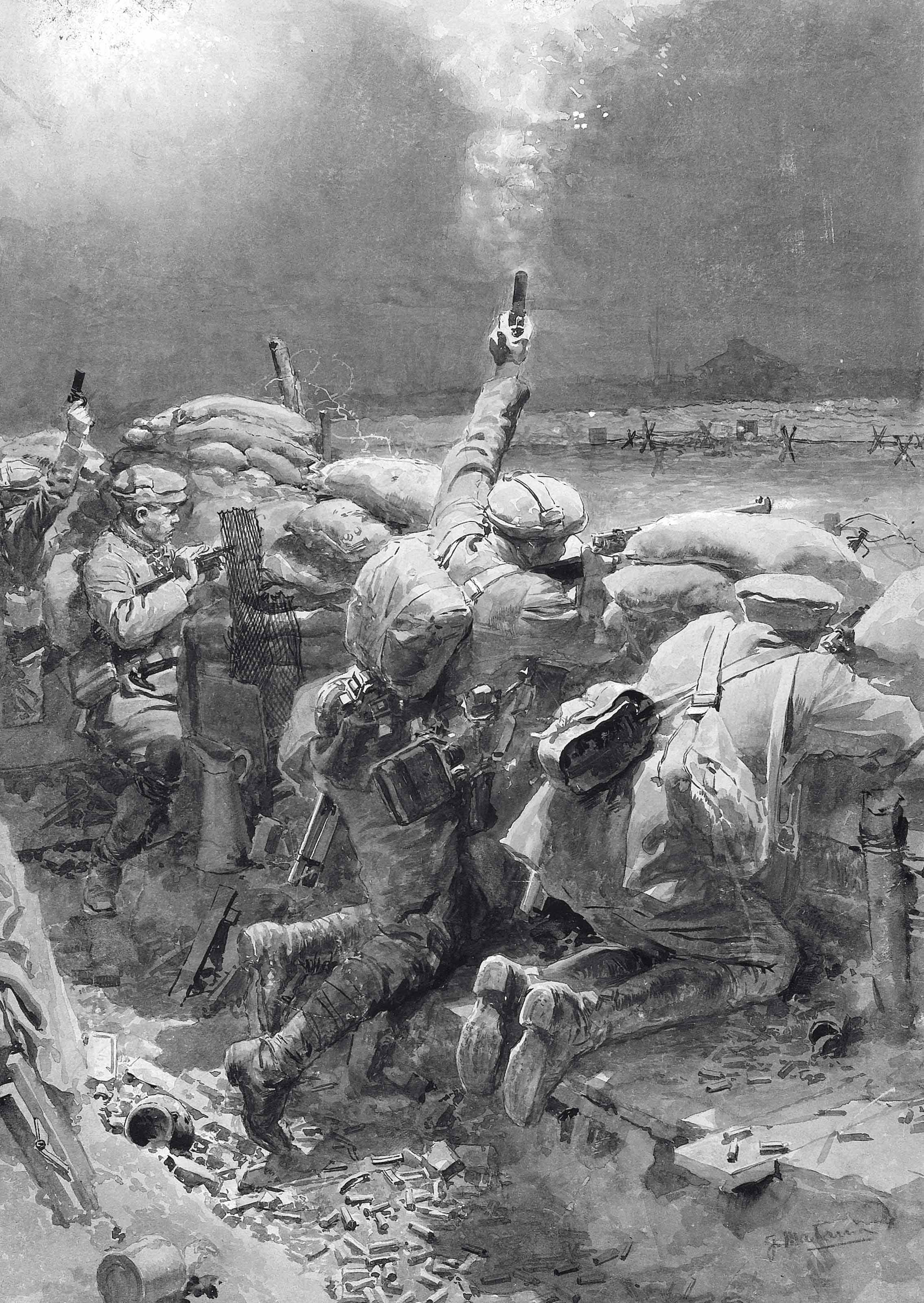 Keeping off a night attack on the Western Front: A ruse de guerre in the trenches - Firing star pistols and rifles at once