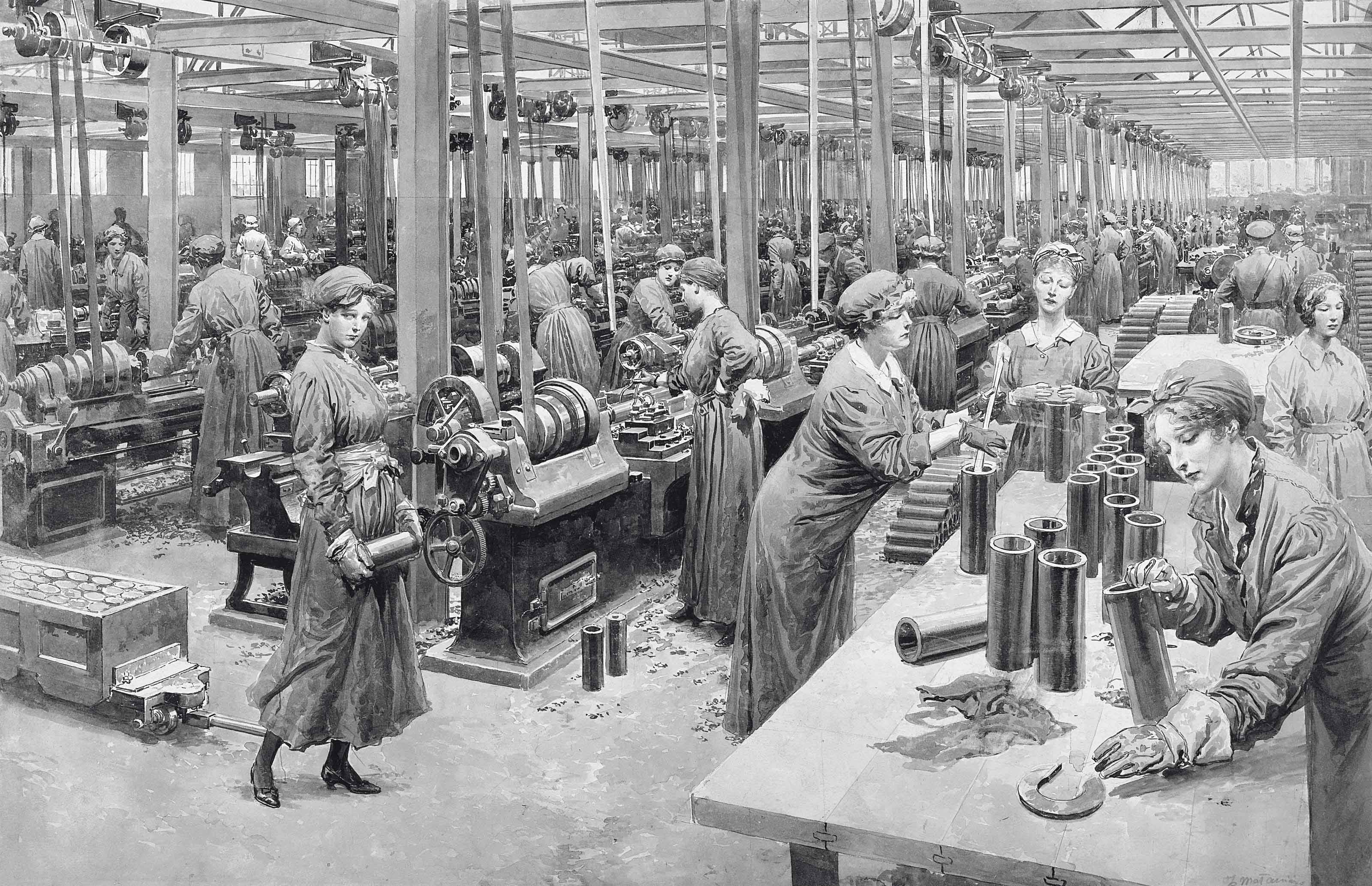 The new munition workers busily engaged in turning out shell for the British Army