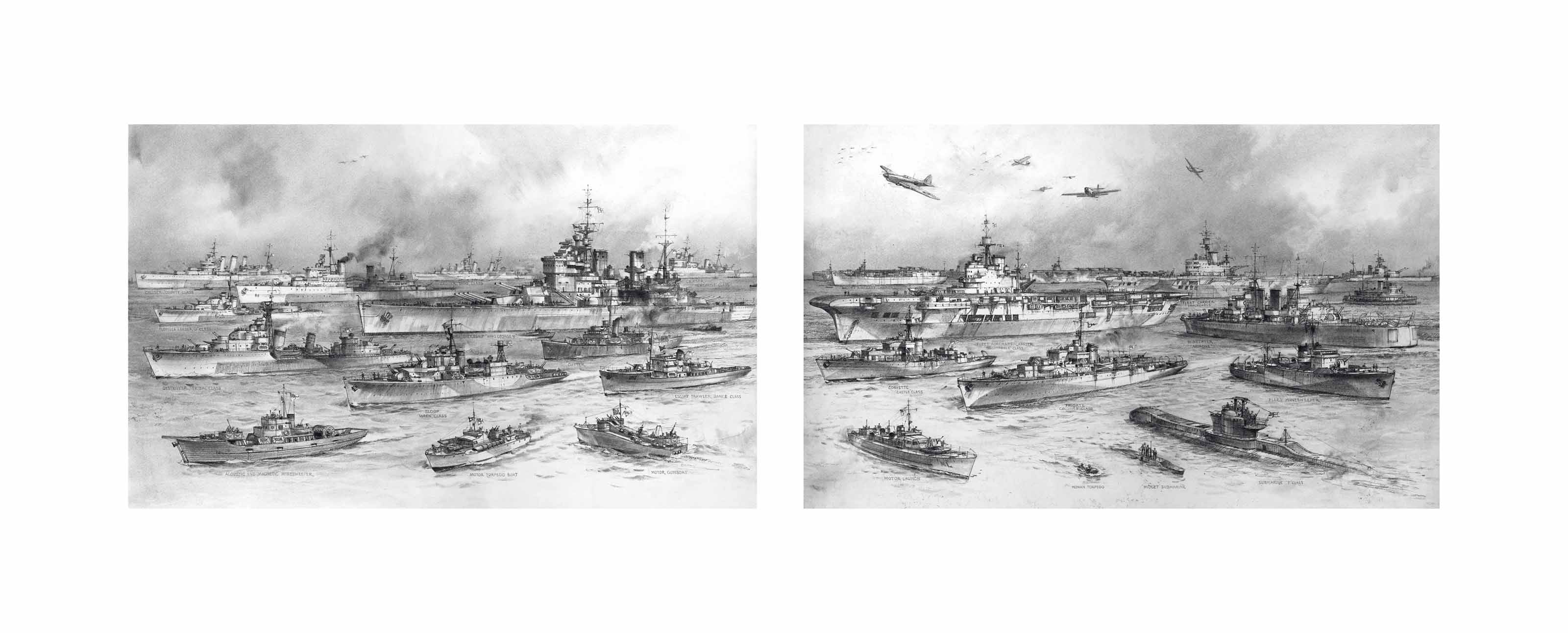 """""""The vast, inventive, adaptive, and in the end, all-controlling power of the Royal Navy"""": The Prime Minister's tribute in his recent broadcast: The various specialised ships of the Royal Navy, from battleships to midget submarines, which for five years have held the seas against the enemy (illustrated)"""