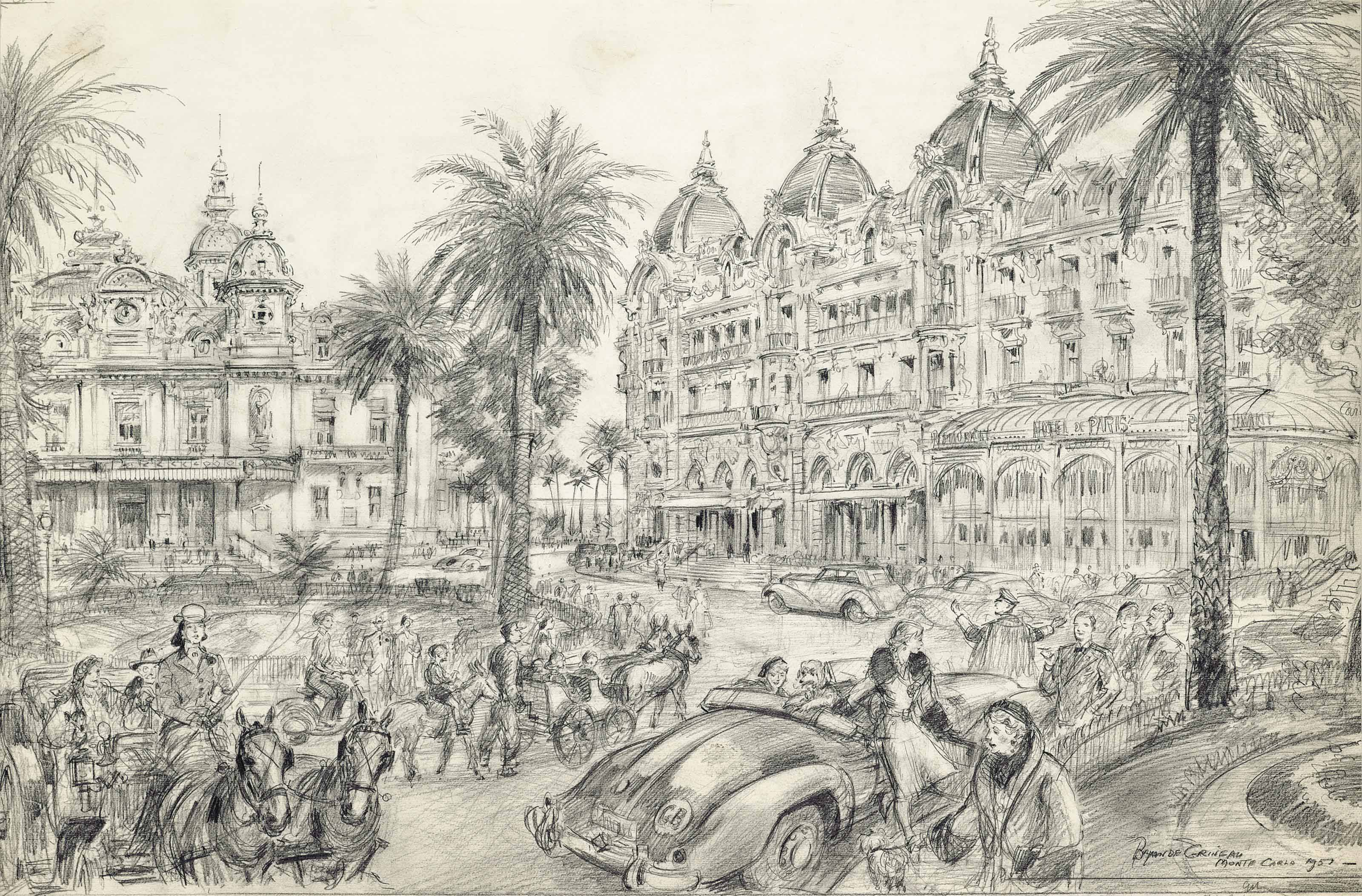 A famous spot on the Riviera which still retains its traditionally carefree atmosphere of leisure and elegance: The square outside the Casino at Monte Carlo