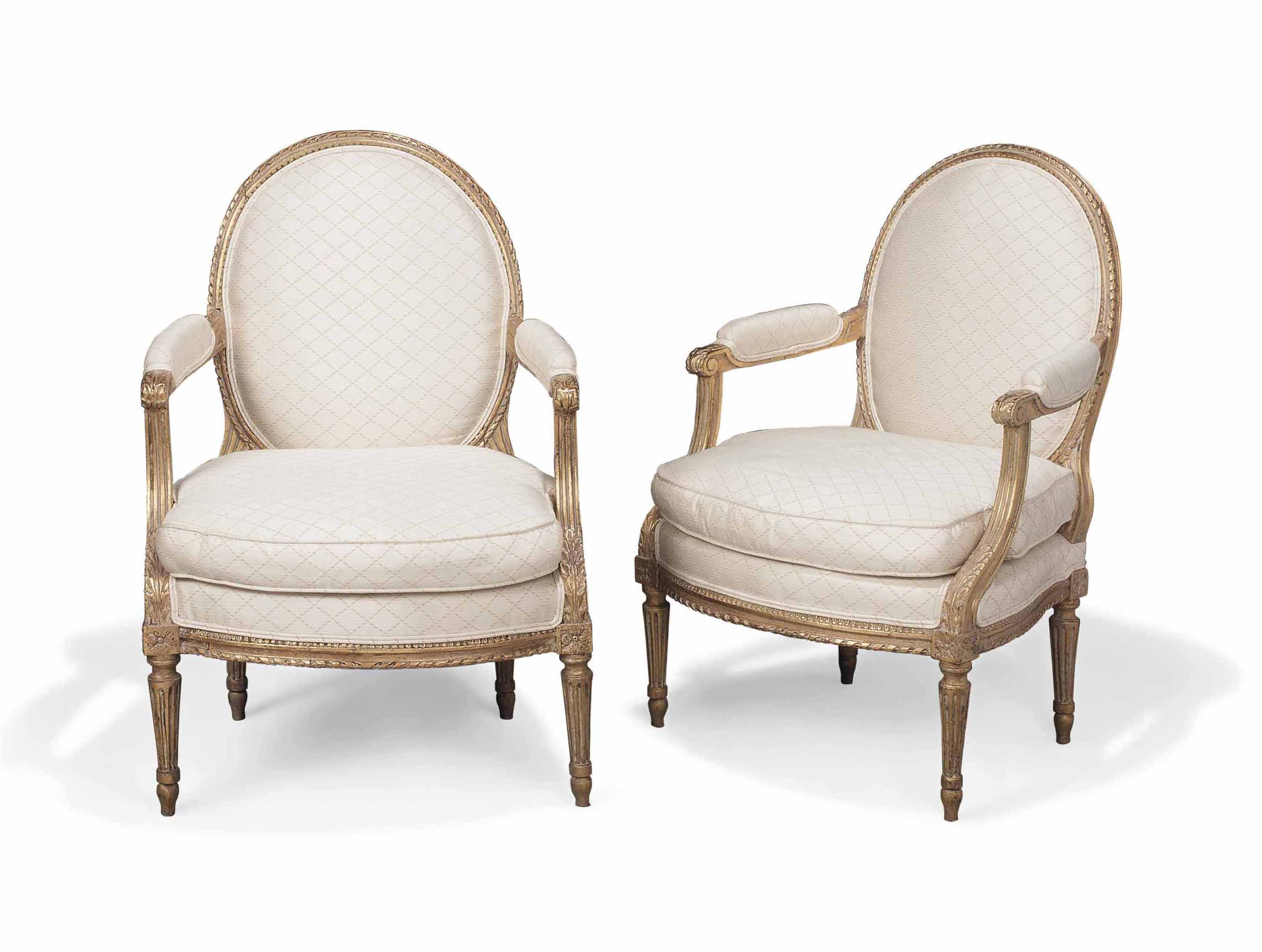 A PAIR OF LOUIS XVI GILTWOOD FAUTEUILS